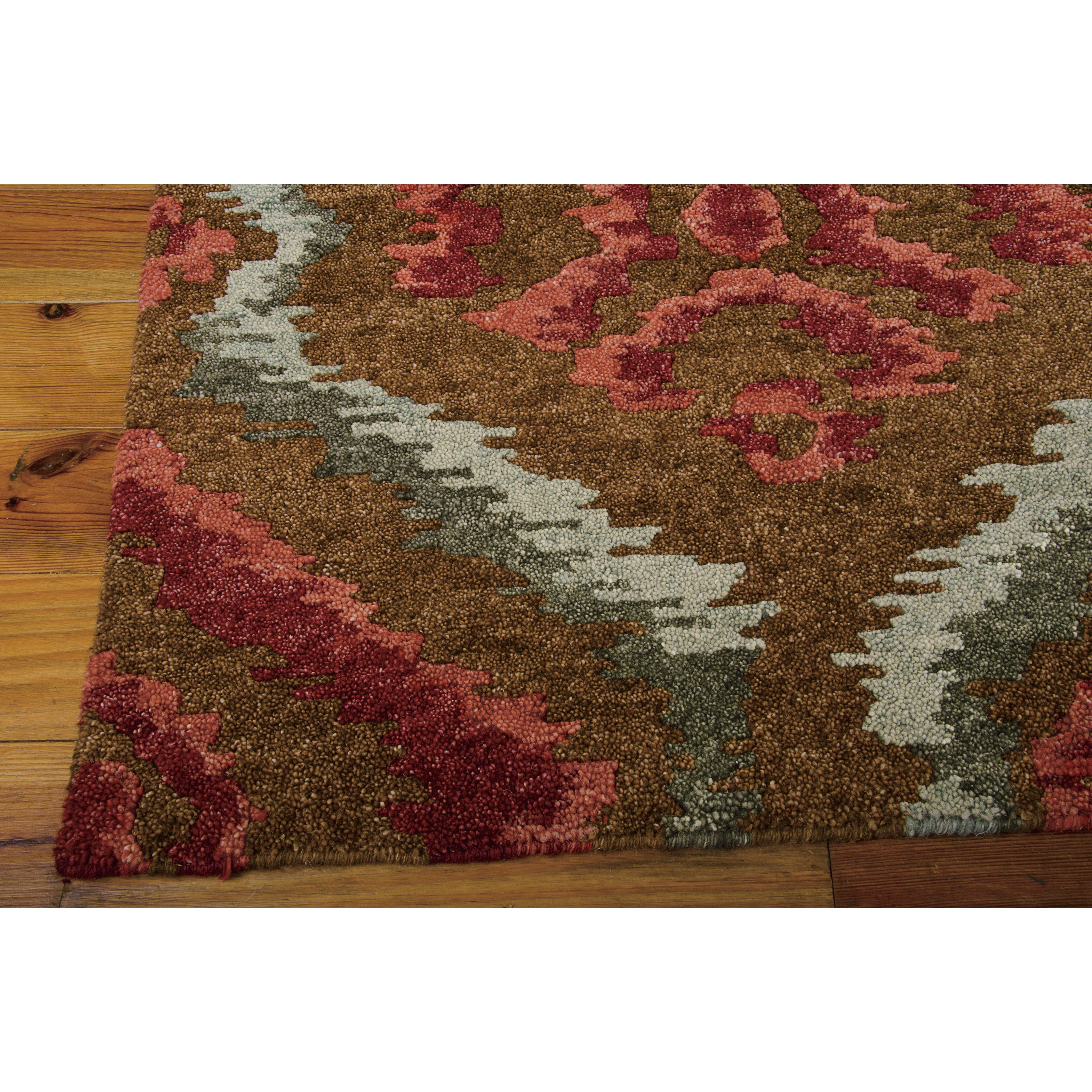 Nourison tahoe modern brown red area rug wayfair for Red area rugs contemporary
