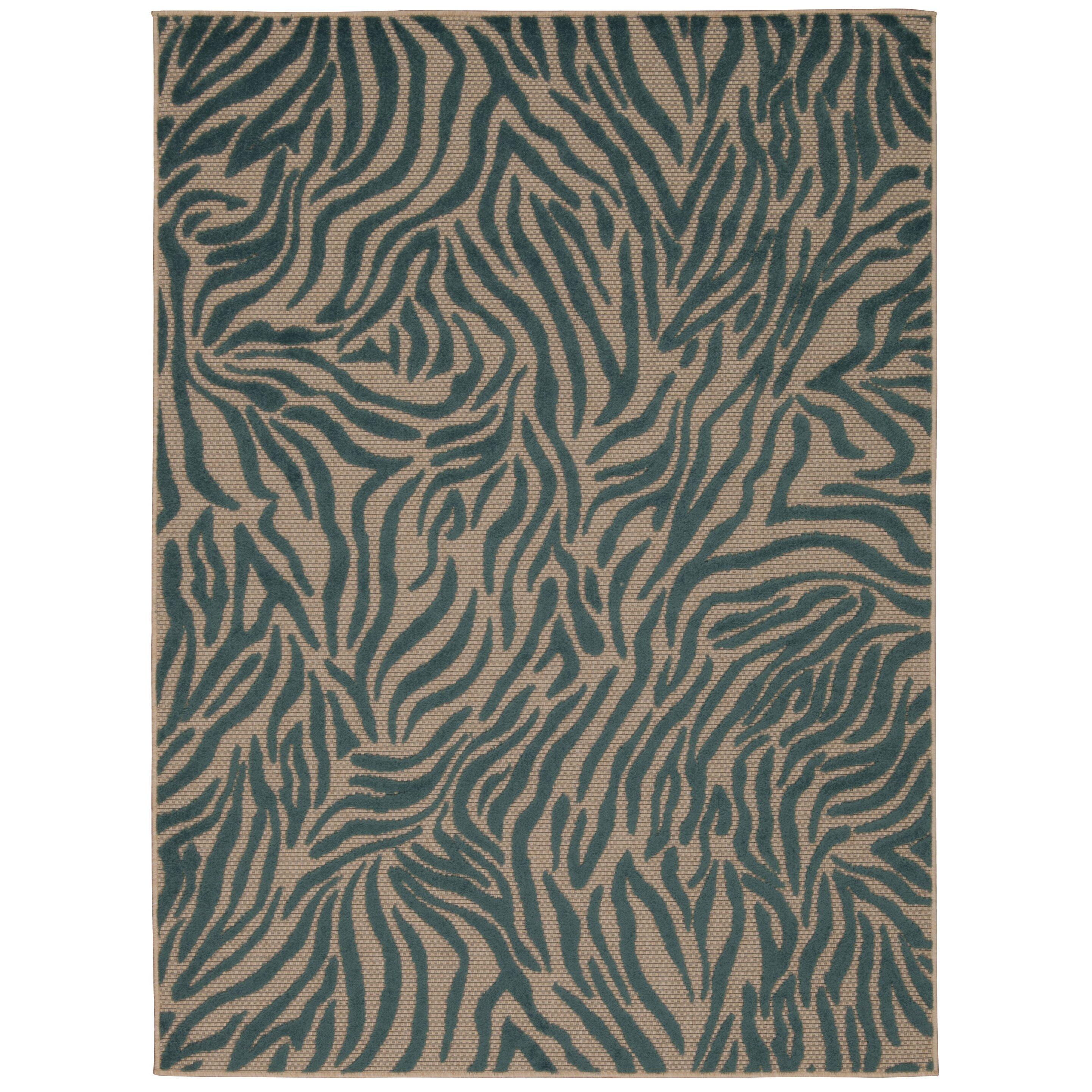 Nourison aloha blue indoor outdoor area rug for Blue indoor outdoor rug