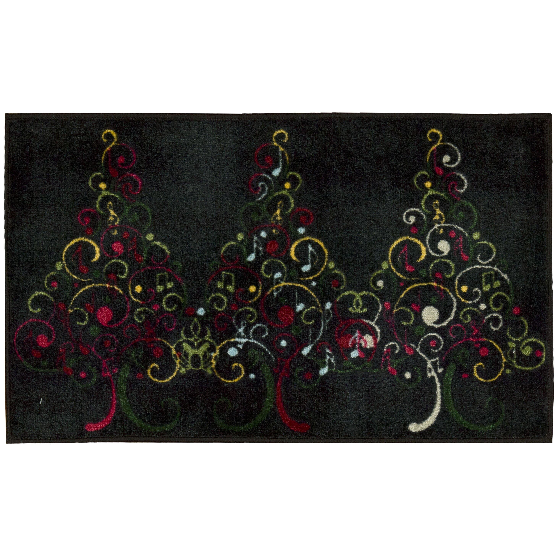 The Holiday Aisle Christmas Tree Black Area Rug & Reviews
