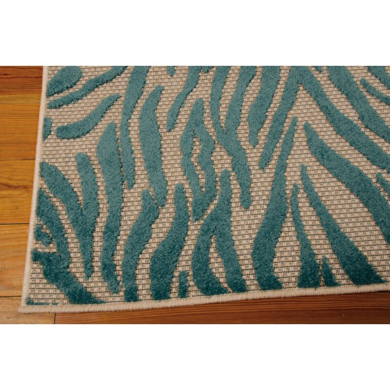 nourison aloha blue indoor outdoor area rug wayfair