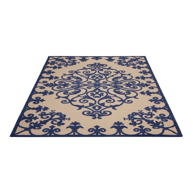 Nourison Aloha Navy Indoor Outdoor Area Rug & Reviews