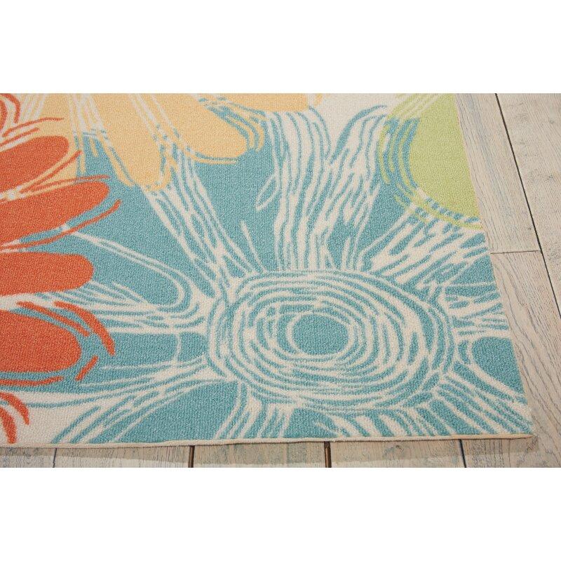 Nourison home garden ivory indoor outdoor area rug for Landscape indoor area rug