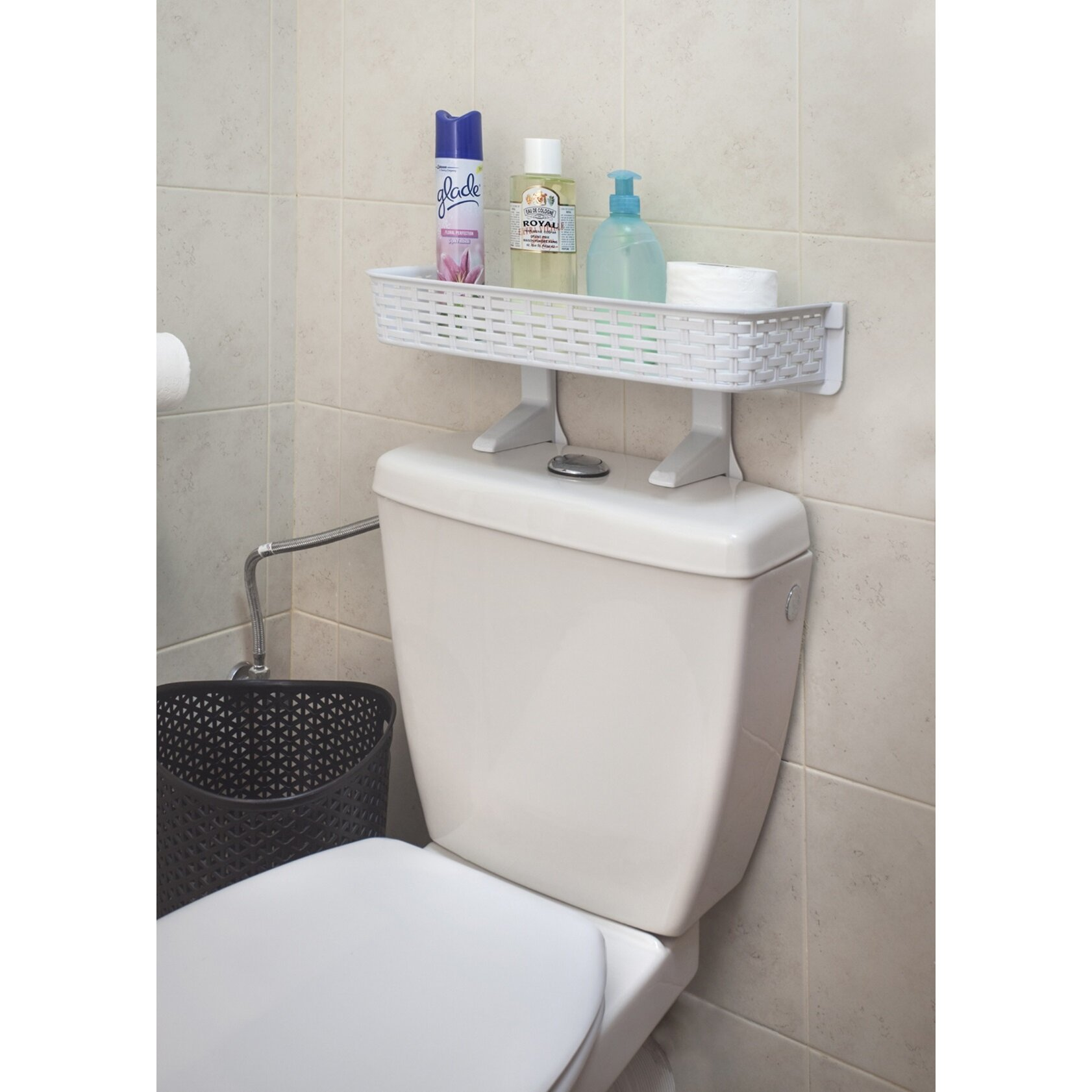Ybm home 7 8 x 11 8 wall mounted shelf wayfair for Bathroom over the toilet shelf