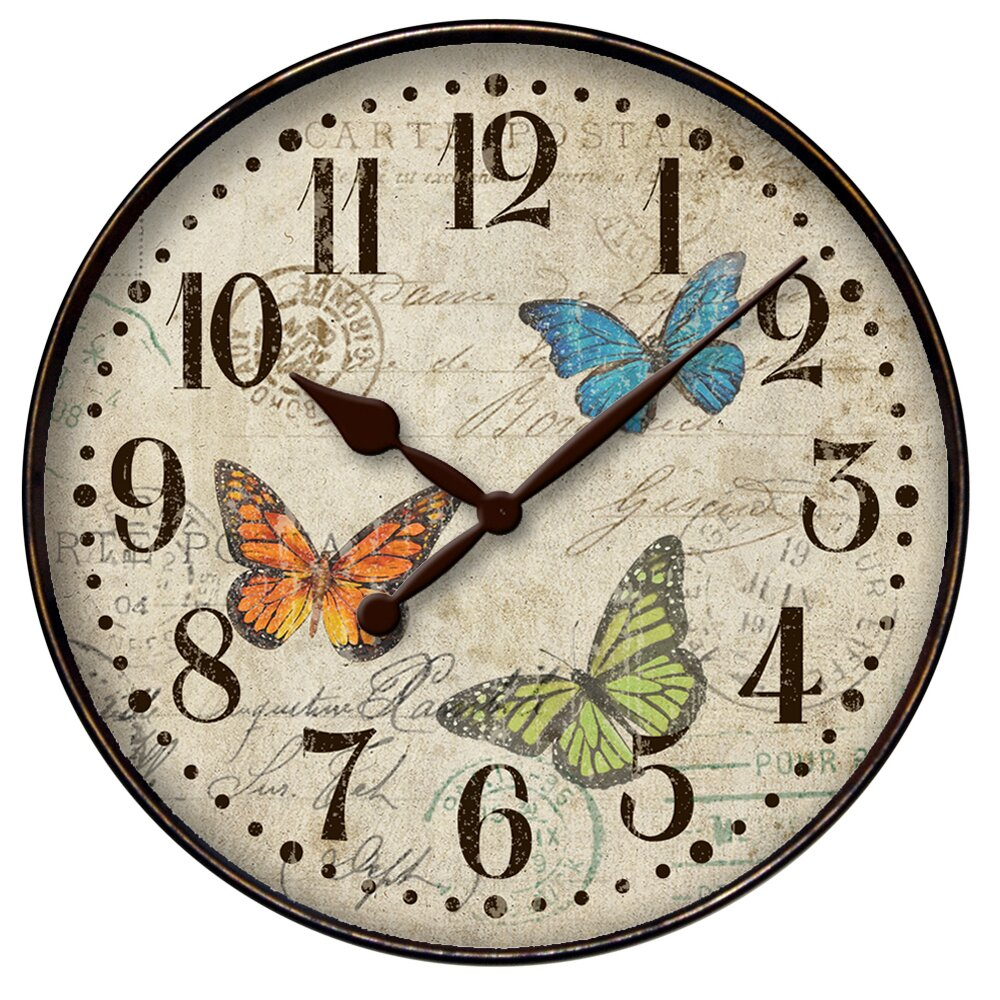 "Westclox 12"" Round Butterfly Wall Clock & Reviews"