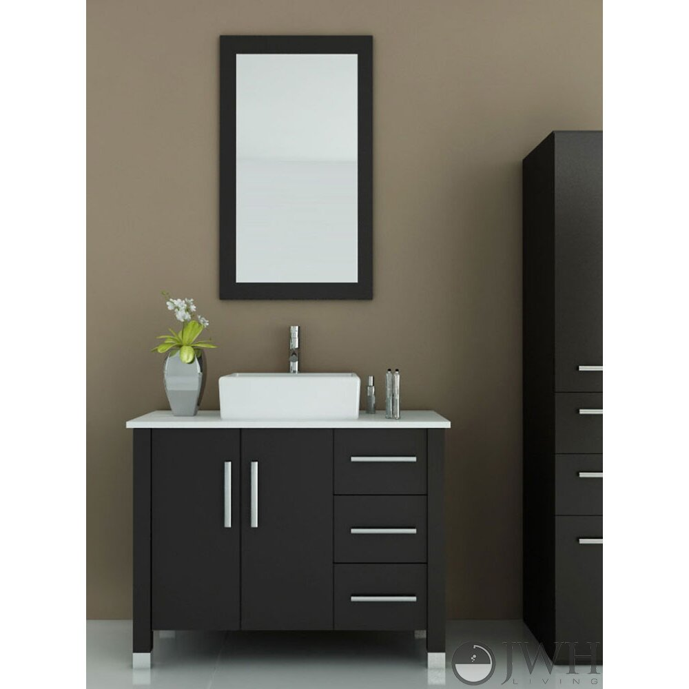 Jwh living crater 39 5 single modern bathroom vanity set reviews wayfair - Kona modern bathroom vanity set ...