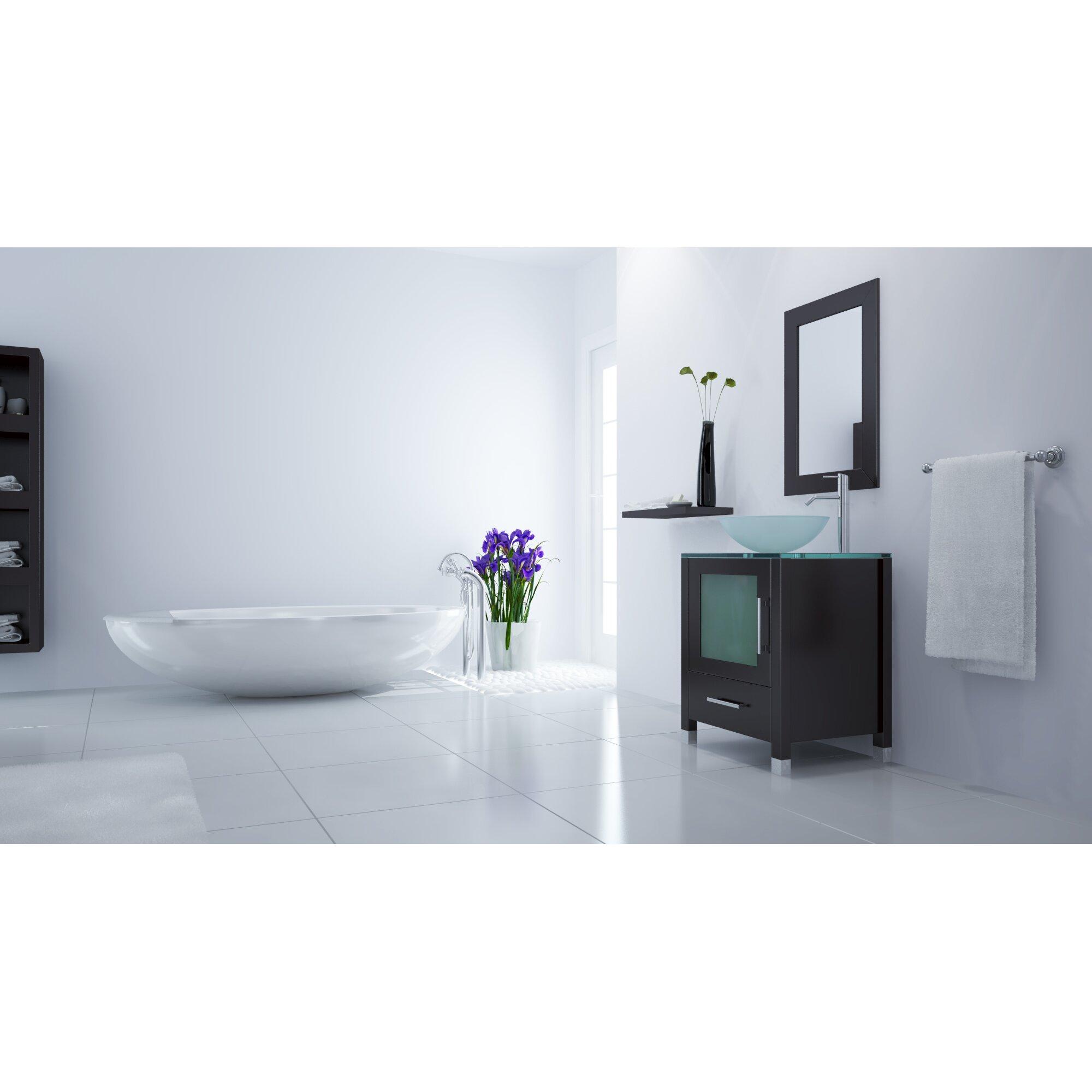 ... Single Soft Focus Vessel Sink Modern Bathroom Vanity Set by JWH Living