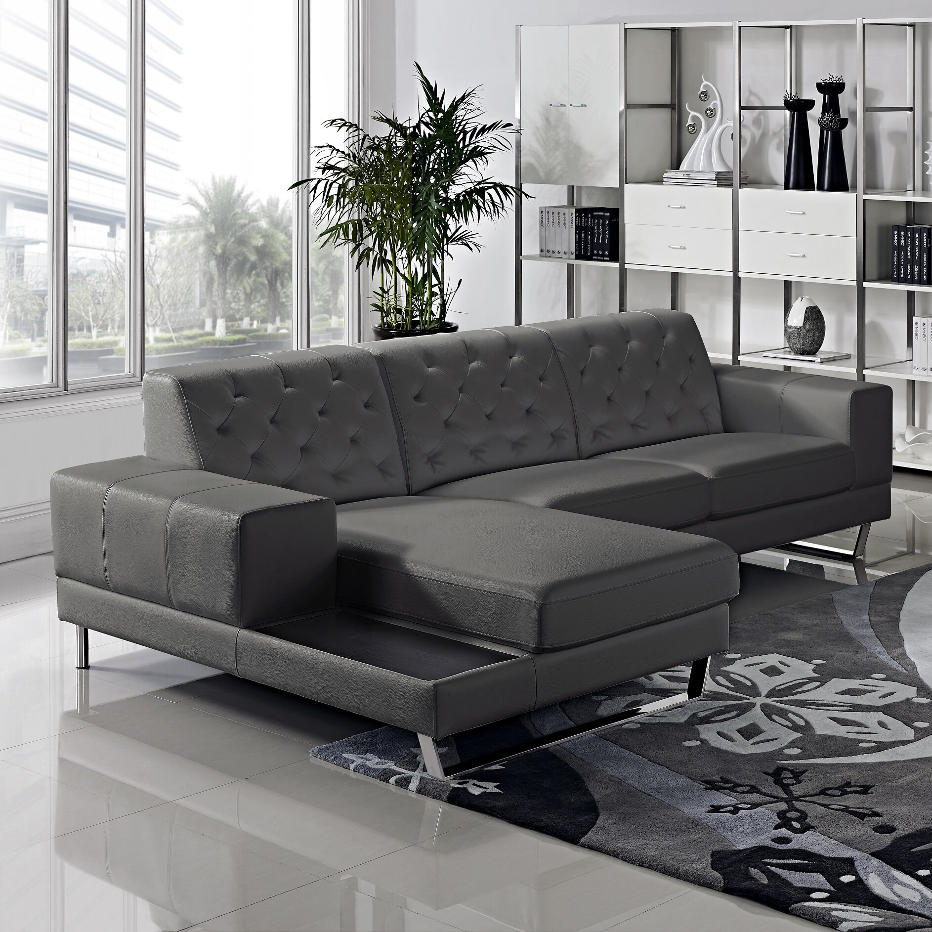Container stella sectional reviews wayfair for Gray sectional sofa wayfair