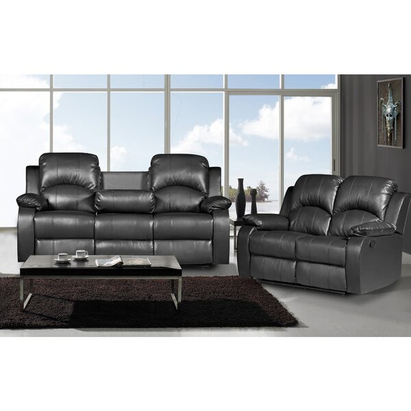 piece bonded leather recliner sofa loveseat set reviews wayfair