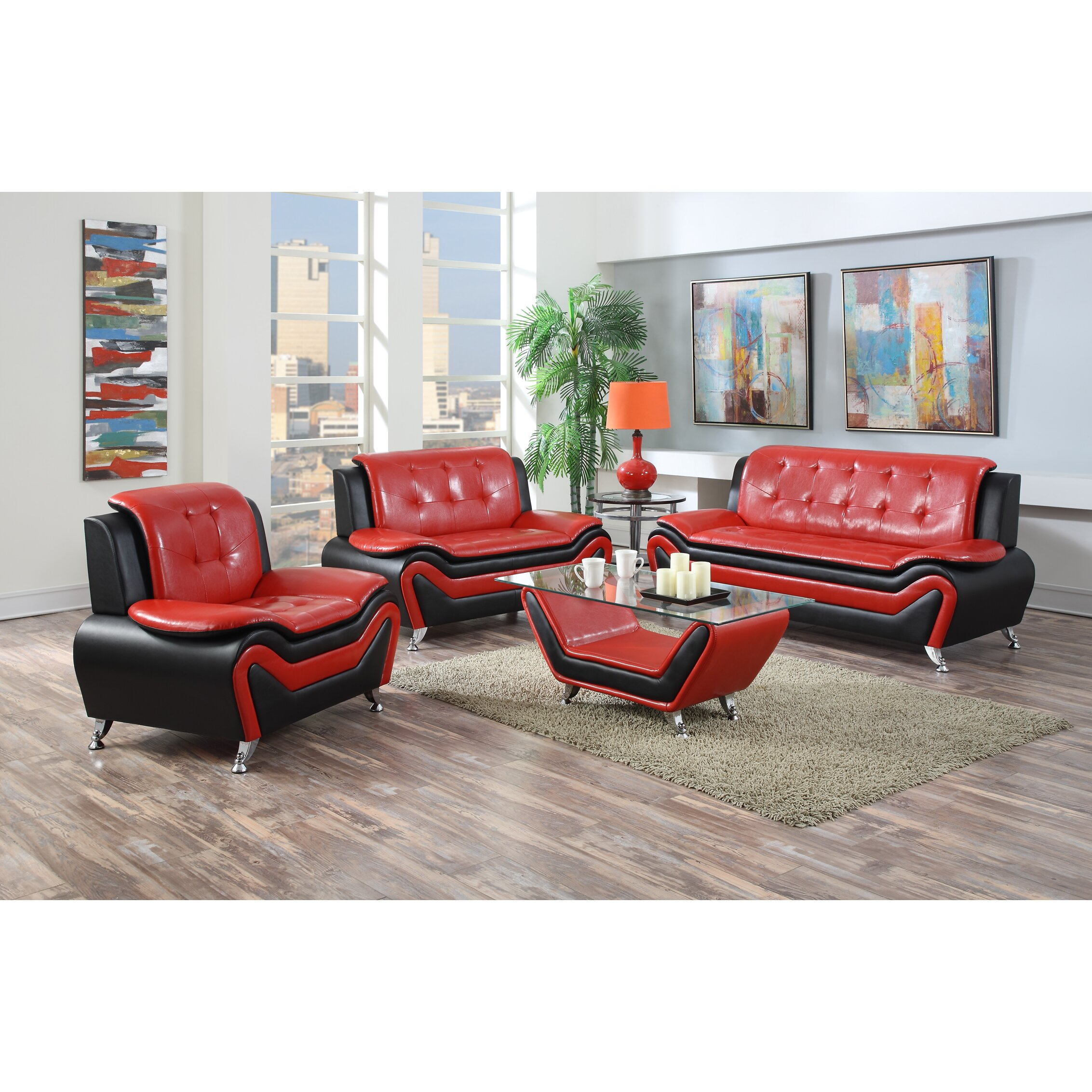 Container wanda 3 piece living room set reviews wayfair for Living room 3 piece sets