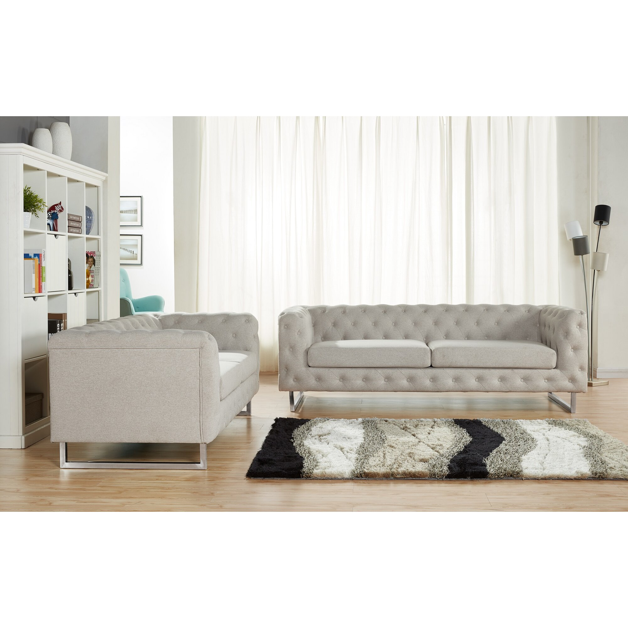 Container Scroll 2 Piece Modern Linen Fabric Sofa Set