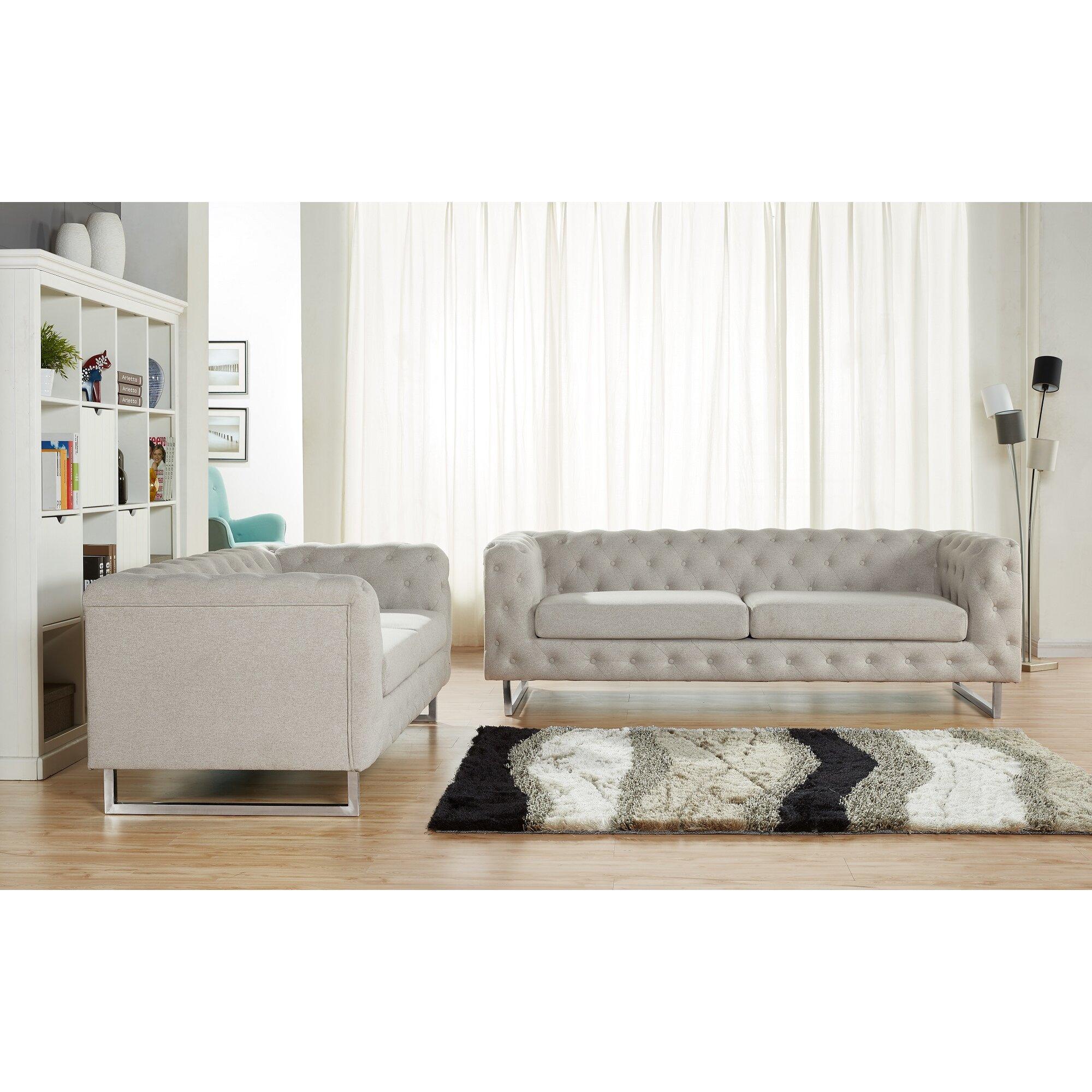 Container scroll 2 piece modern linen fabric sofa set for 2 piece sofa set
