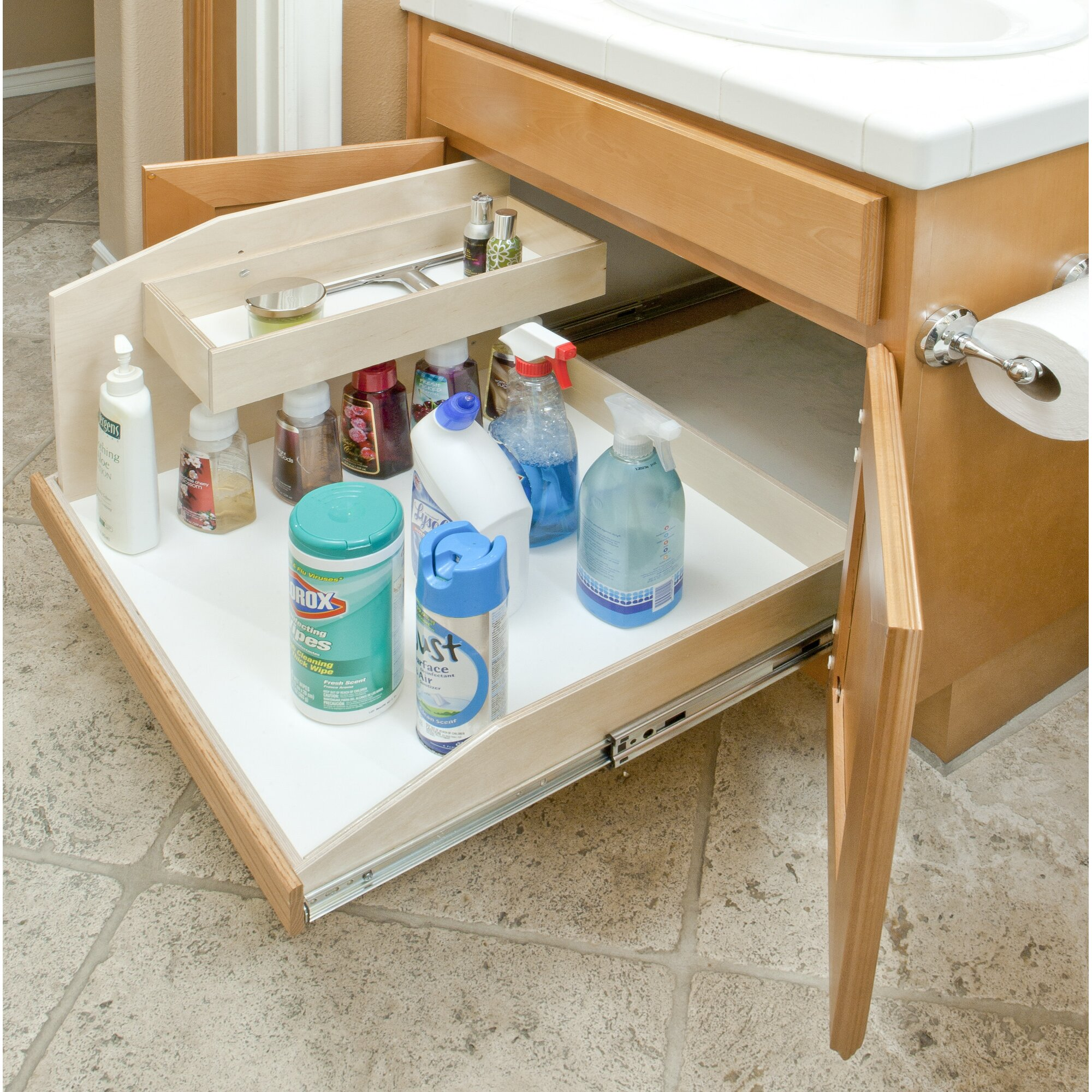 Under Sink Shelf Shelves That Slide Cabinet Pull Out: Slide-A-Shelf Full Extension Baltic Birch Sink Caddy Slide
