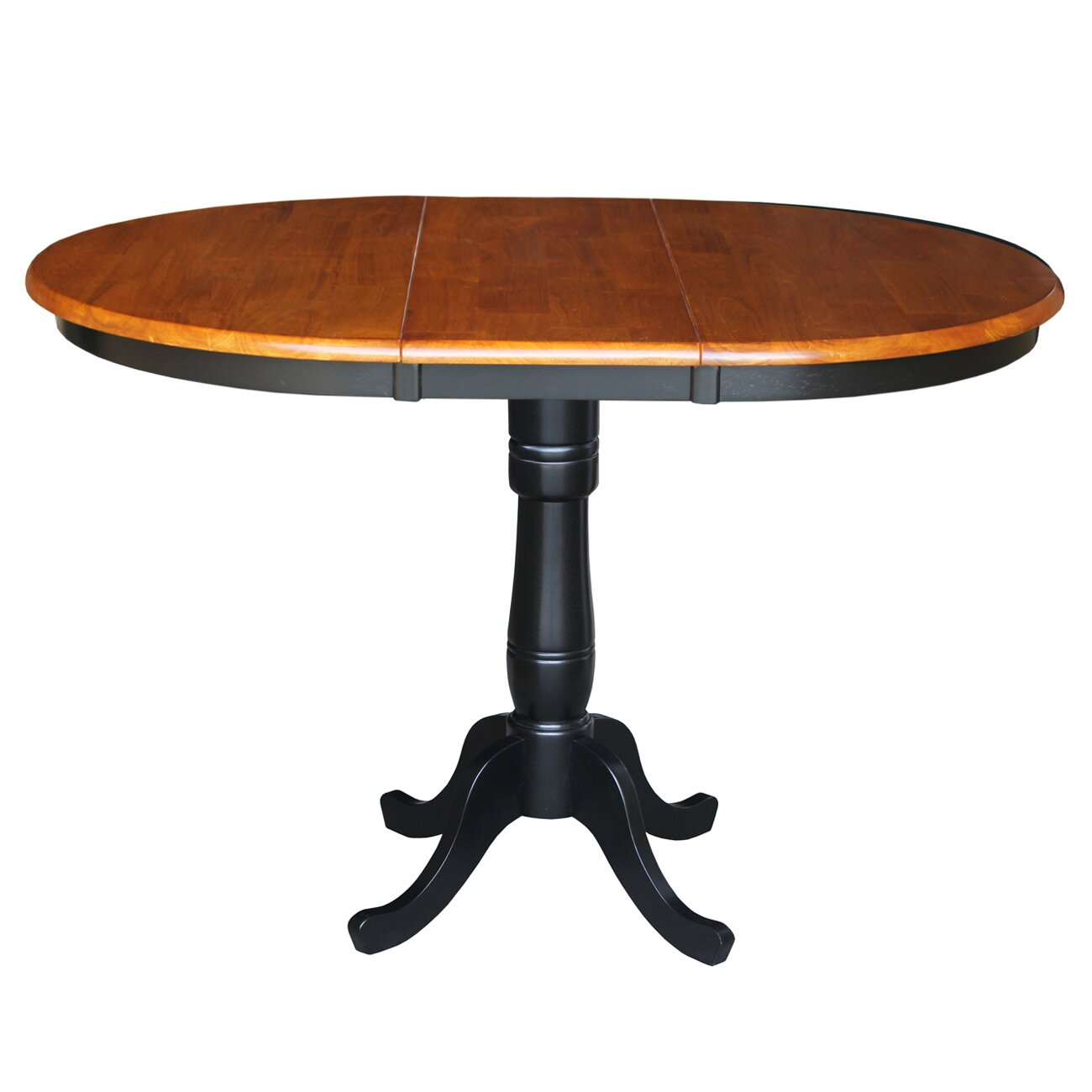 International concepts round pedestal bar height pub table for Round pedestal table with leaf