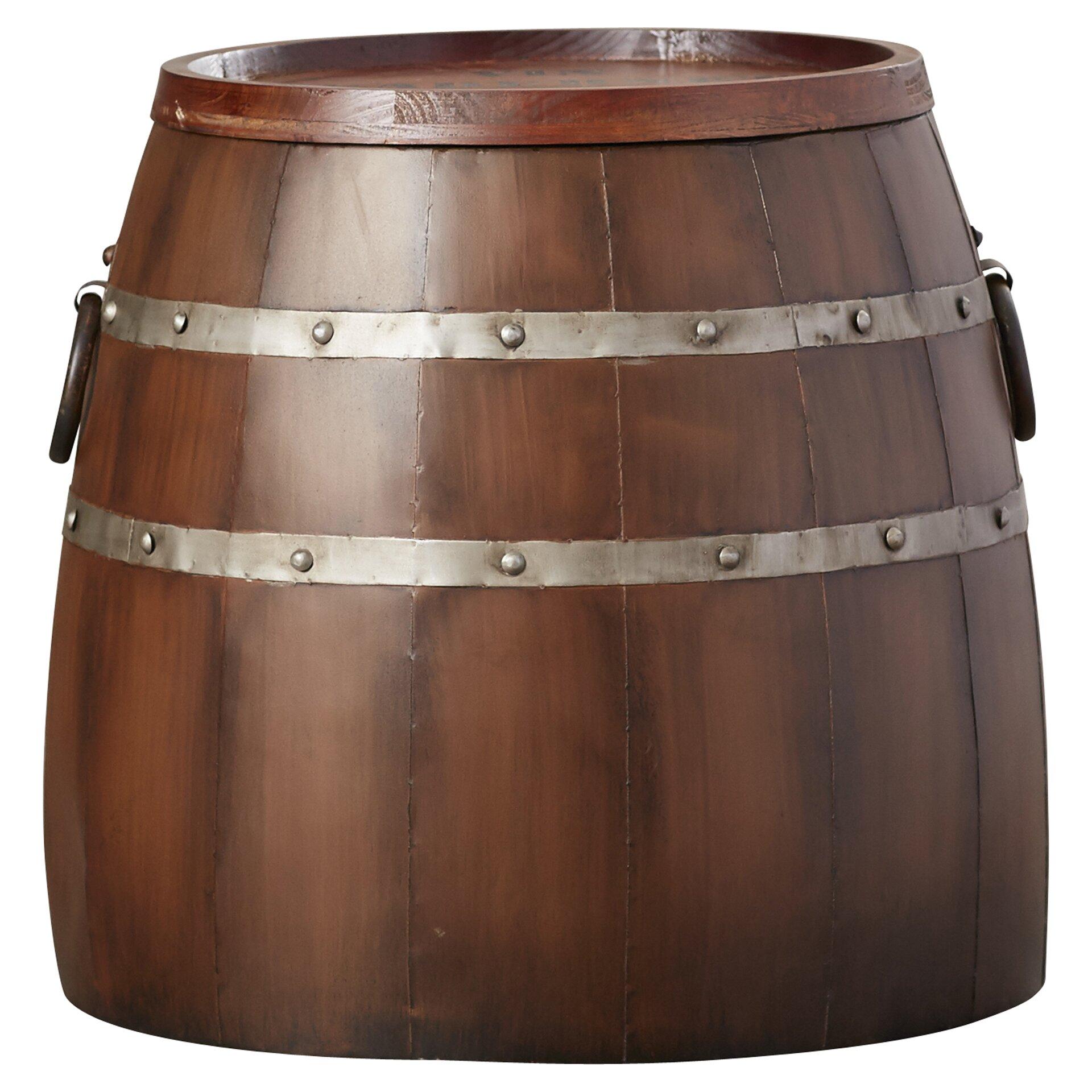 August grove leila wine barrel side table reviews wayfair for 1 2 wine barrel table