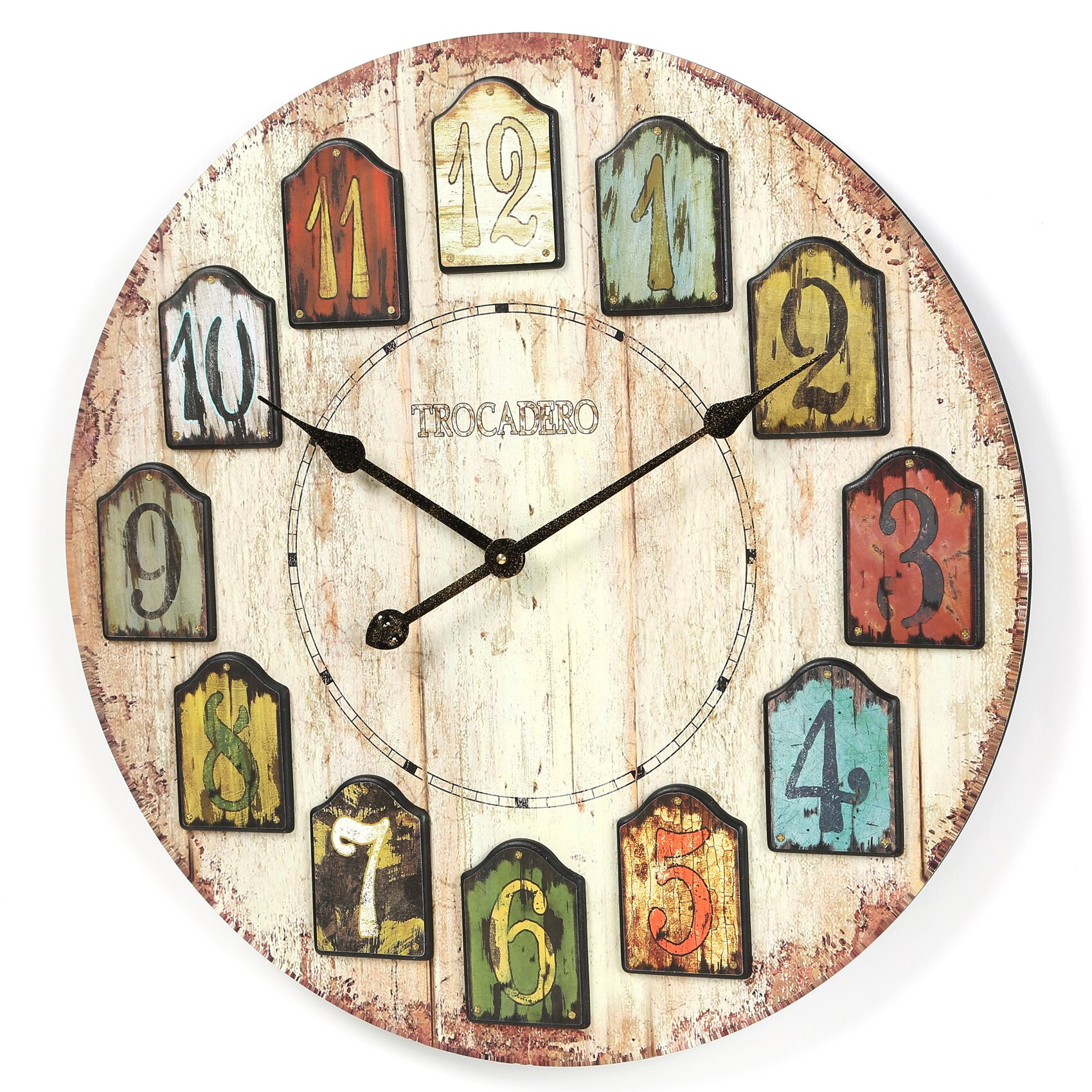 August Grove Balta Oversized Weathered Plank Wall Clock Reviews Wayfair