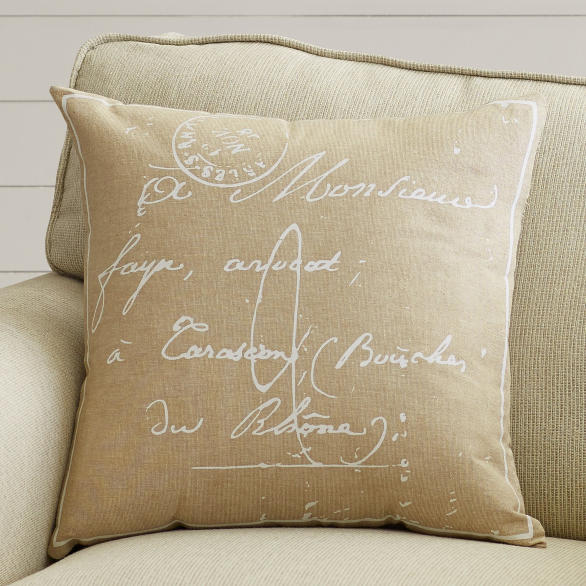 Throw Pillows With French Script : August Grove Evelina Classical French Script Cotton Throw Pillow & Reviews Wayfair