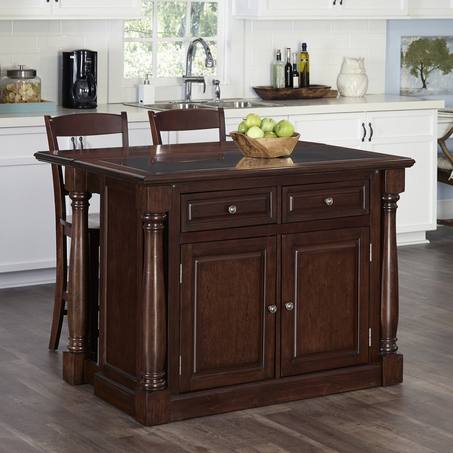 August Grove Shyanne Kitchen Island Set with Granite Top & Reviews