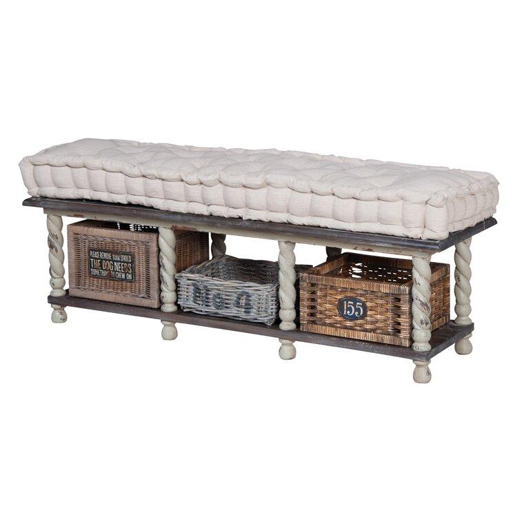 august grove bella farmhouse wood storage bedroom bench wayfair. Black Bedroom Furniture Sets. Home Design Ideas