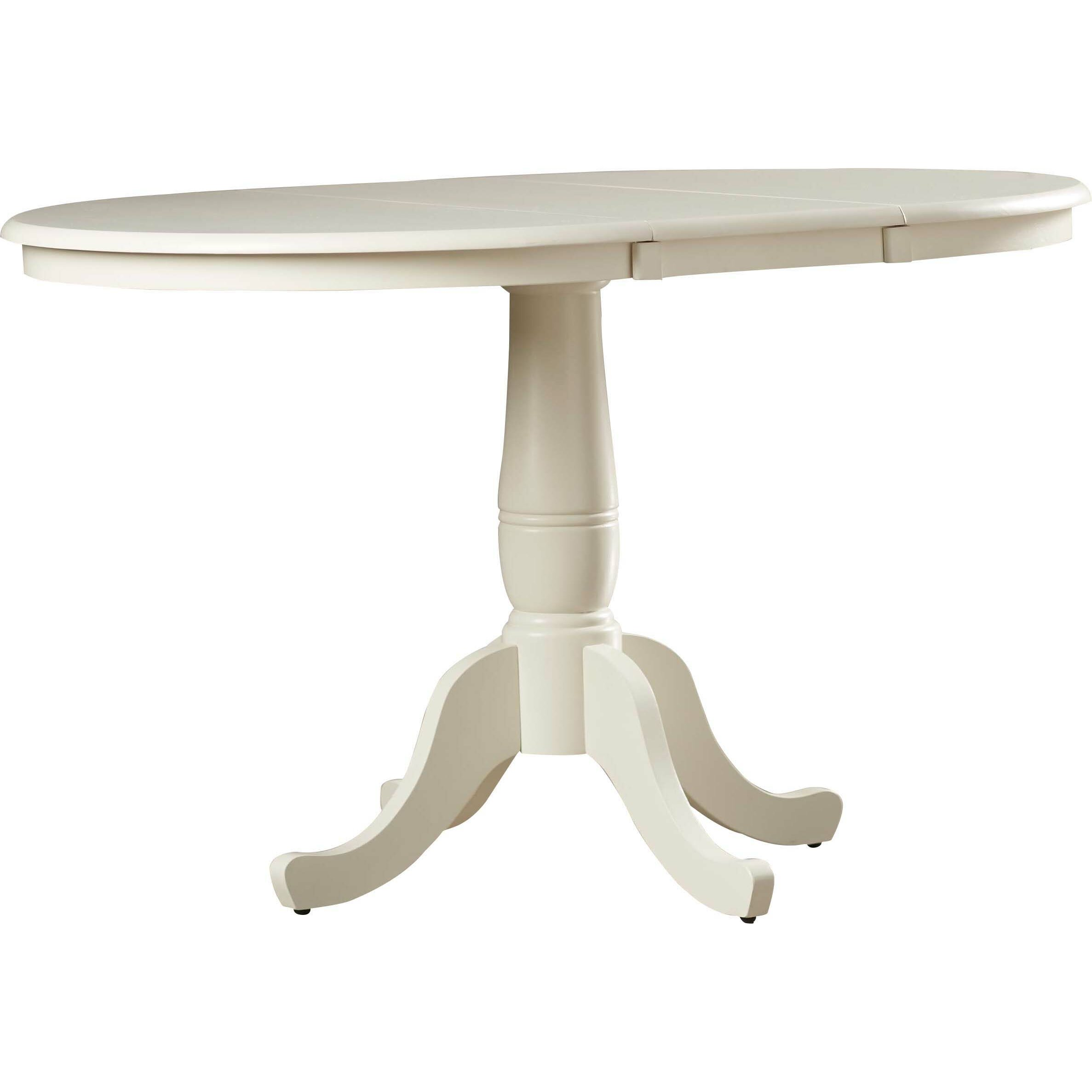 August grove 36 extendable round pedestal dining table for Round extendable dining table