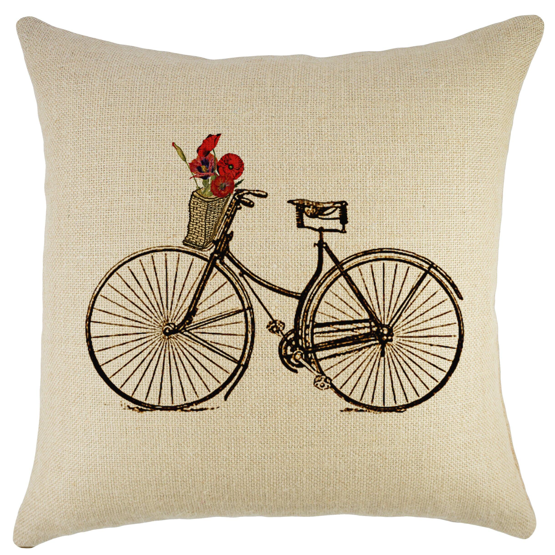 Throw Pillows With Bikes : August Grove Superior Bike Burlap Throw Pillow & Reviews Wayfair