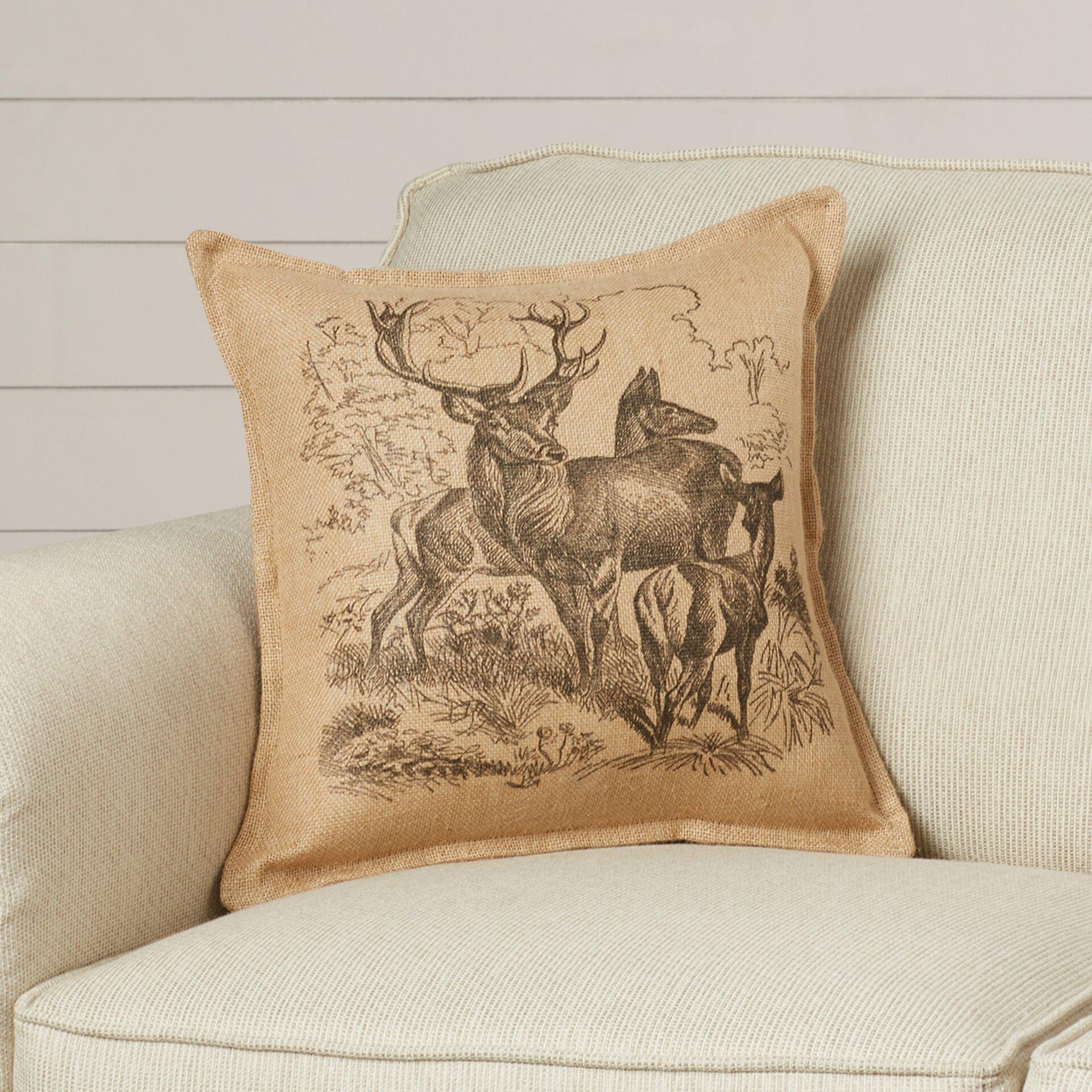 Throw Pillows With Deer : August Grove Eddie Deer Family Burlap Throw Pillow & Reviews Wayfair