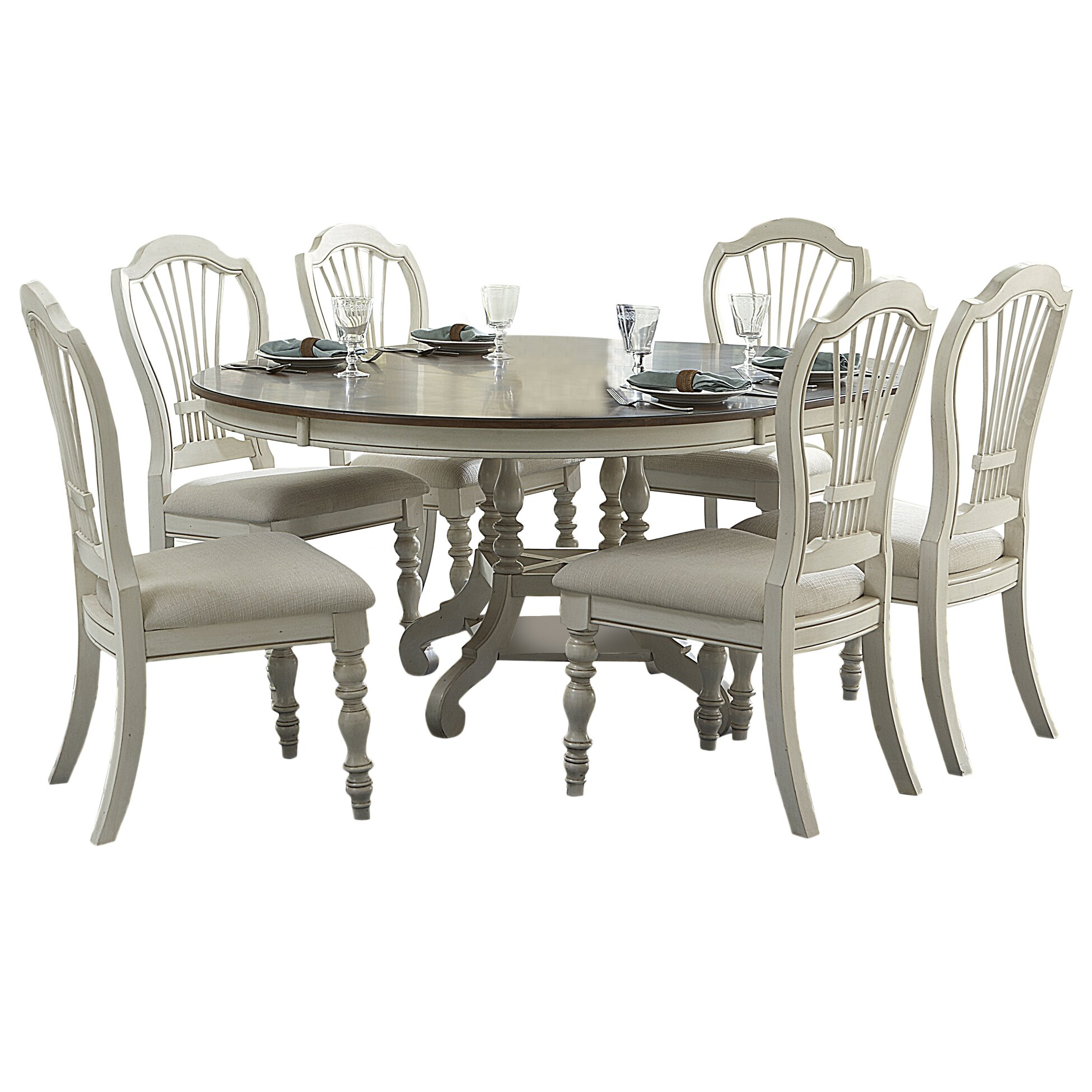 August grove mertie 7 piece dining set reviews wayfair for Furniture 7 reviews