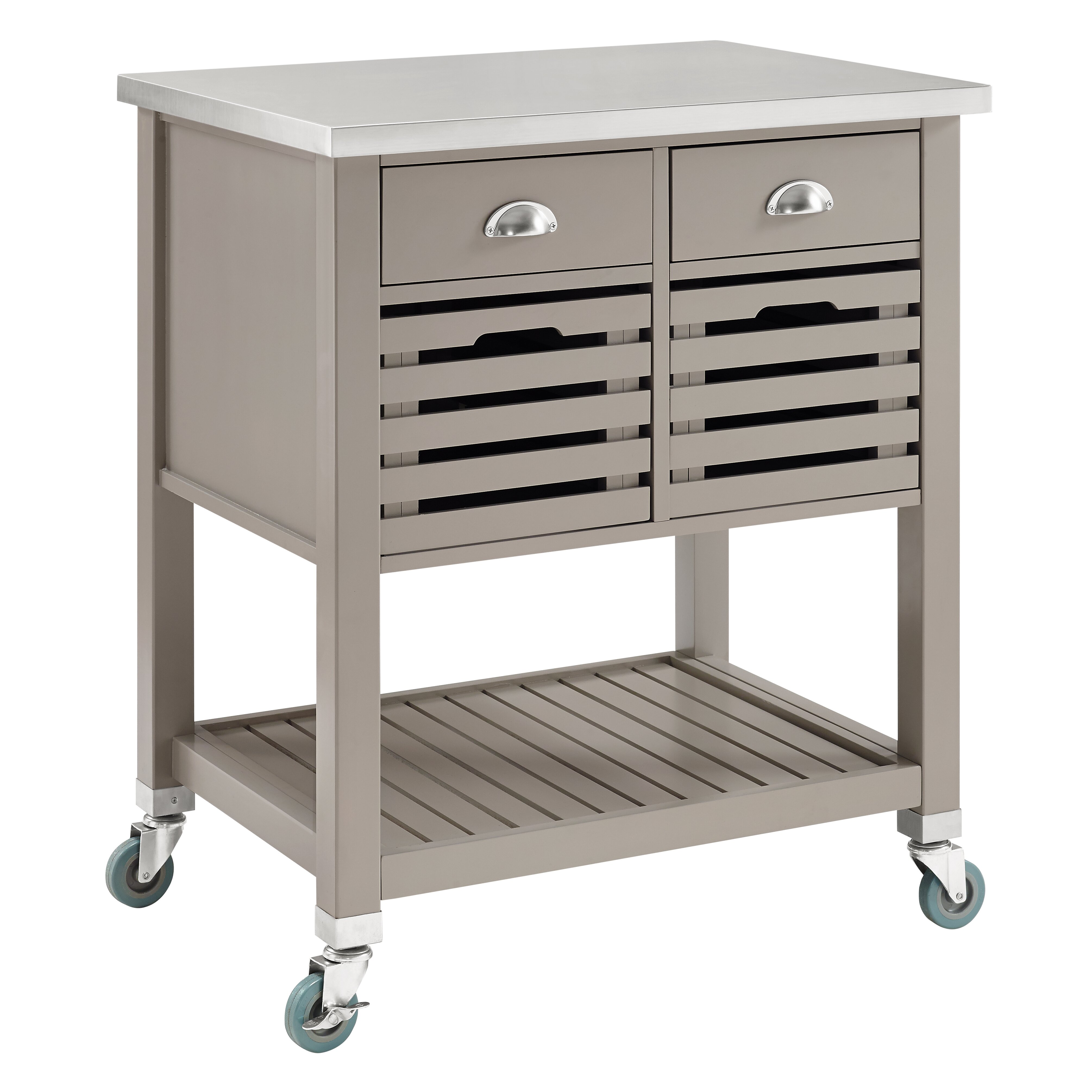 August Grove Robbin Kitchen Cart With Stainless Top