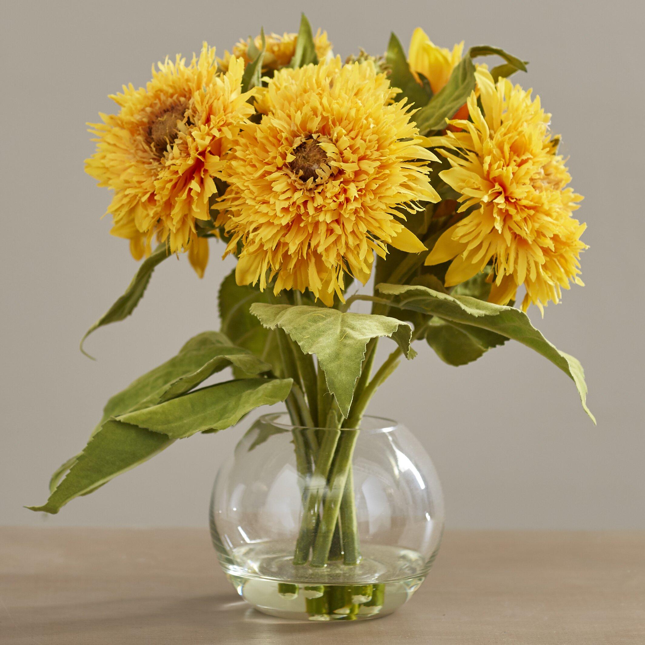August grove golden sunflower arrangement in vase