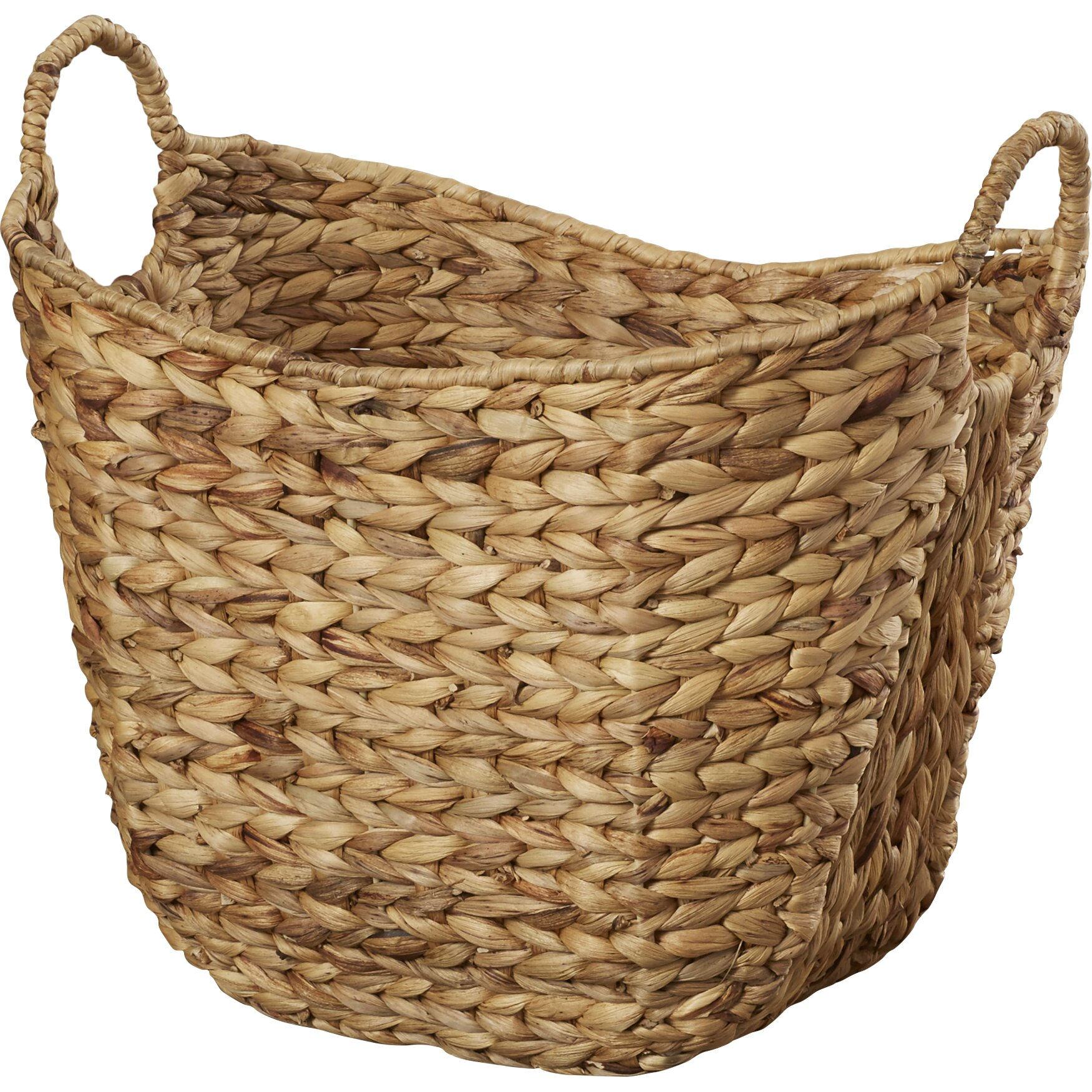 august grove theroux tall water hyacinth wicker basket with handles reviews wayfair. Black Bedroom Furniture Sets. Home Design Ideas