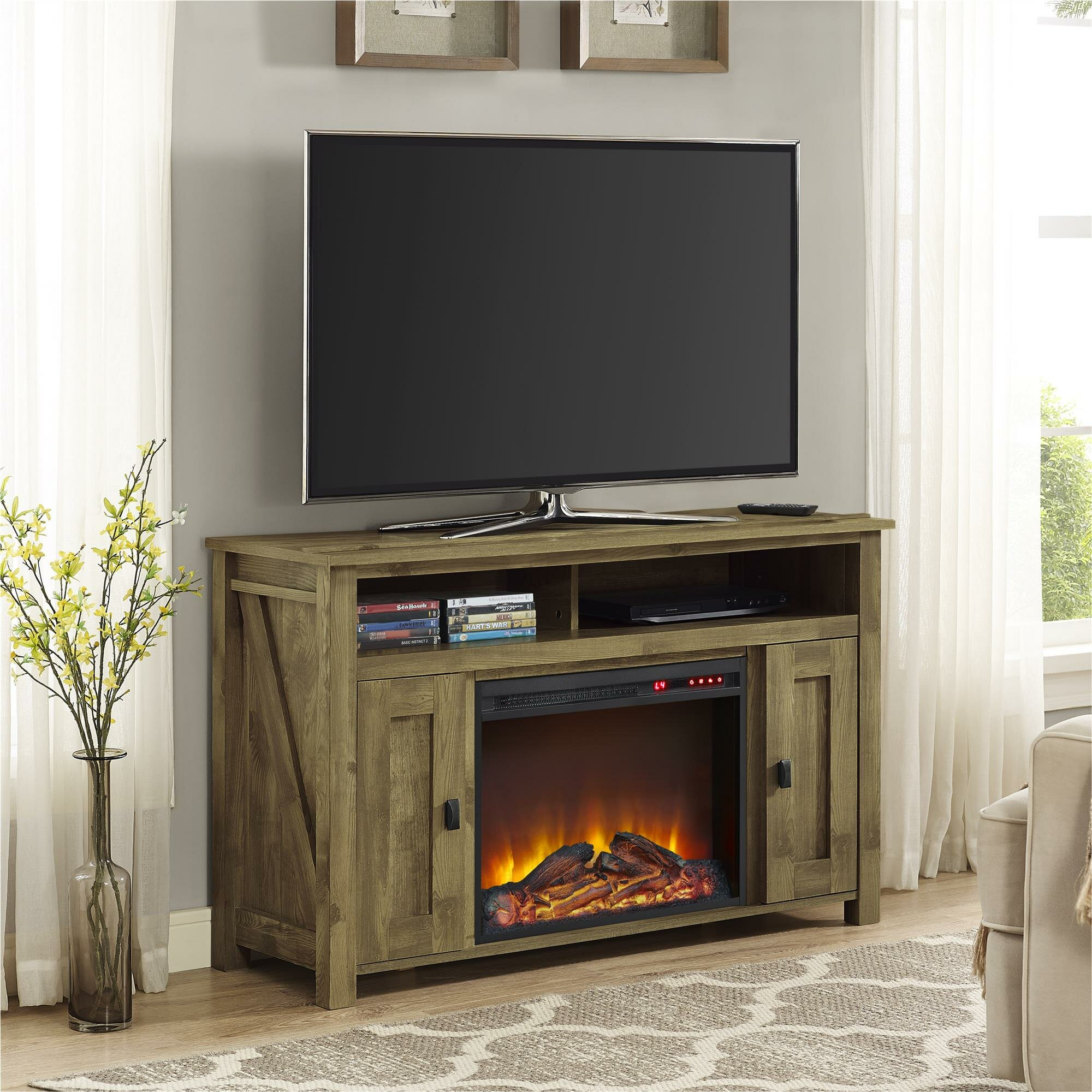 August Grove Gilby TV Stand with Electric Fireplace ...