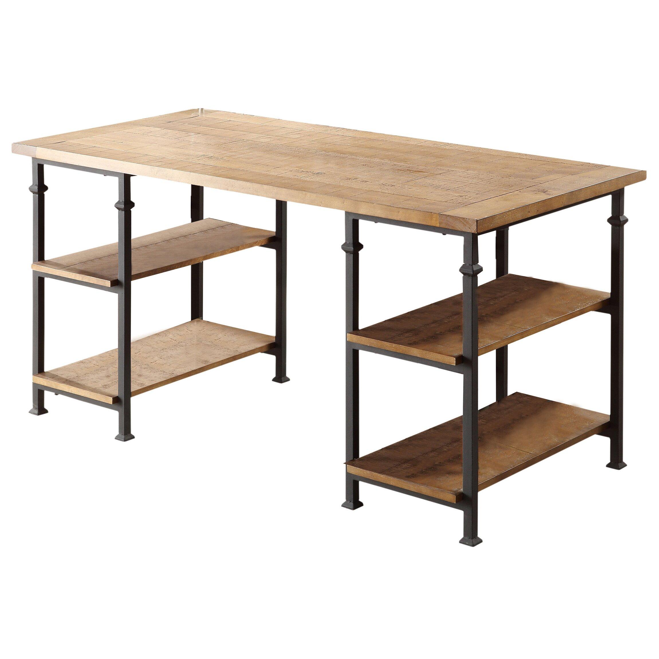 August grove oliver writing desk reviews wayfair - Industrial office desk ...