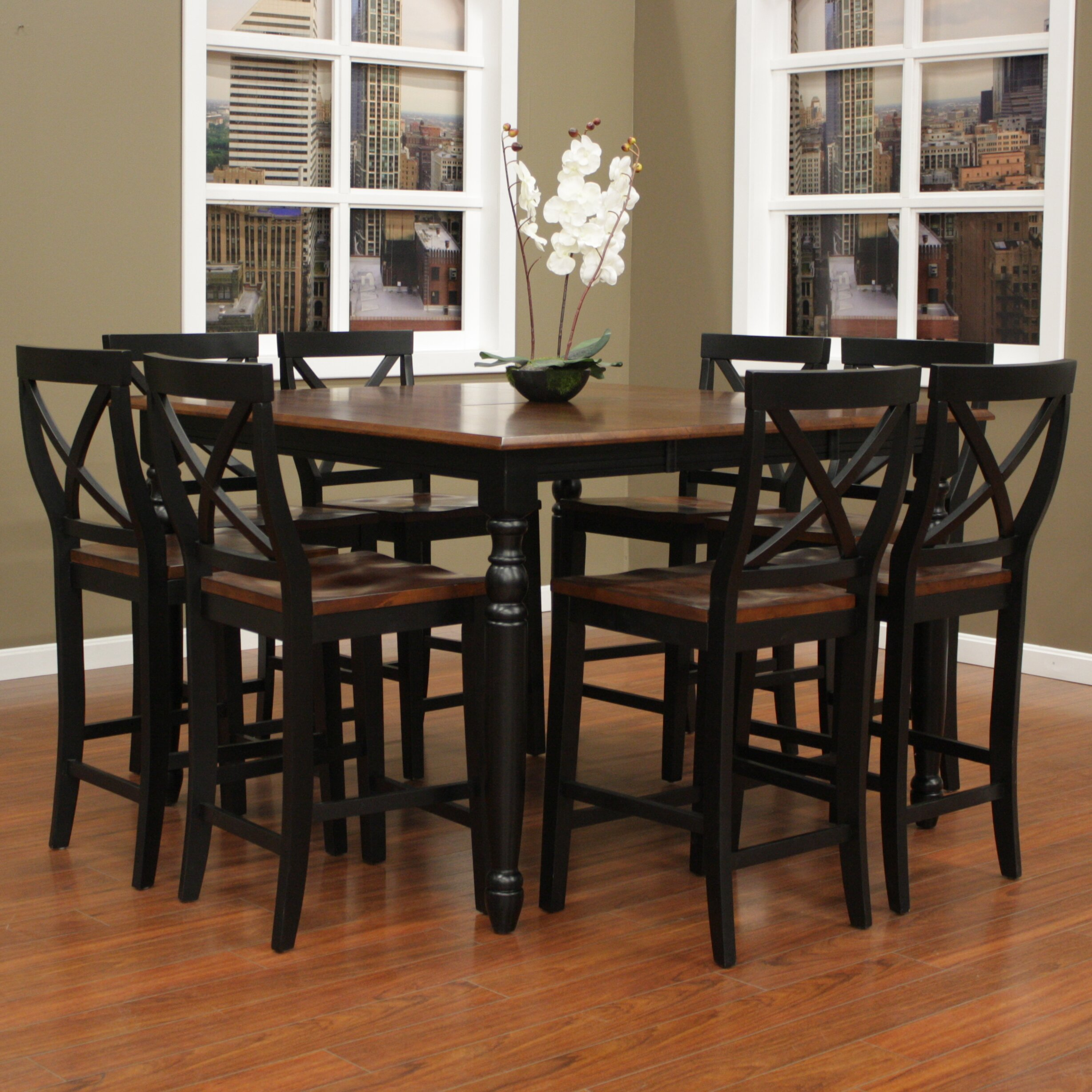 August grove deer lodge 9 piece counter height dining set for 9 piece dining room sets square