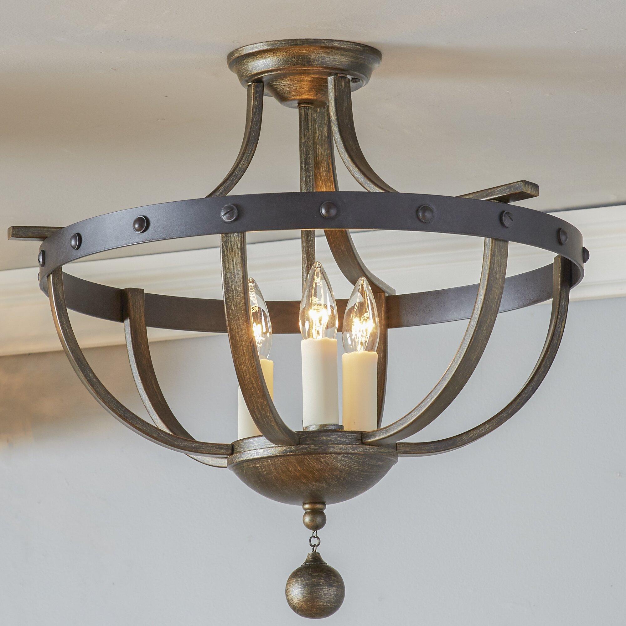 August grove betty jo 3 light semi flush mount reviews Semi flush mount ceiling lights