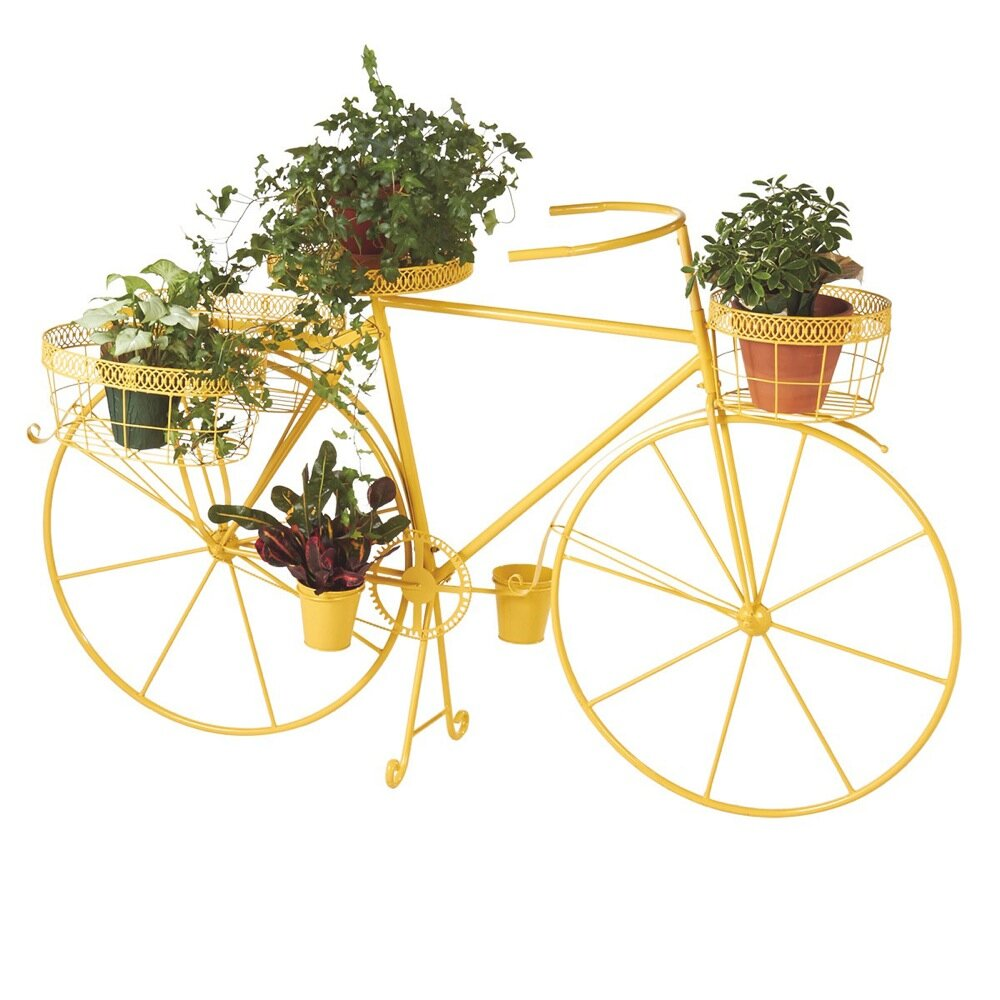 August grove dubay bicycle plant stand reviews wayfair - Bicycle planter stand ...