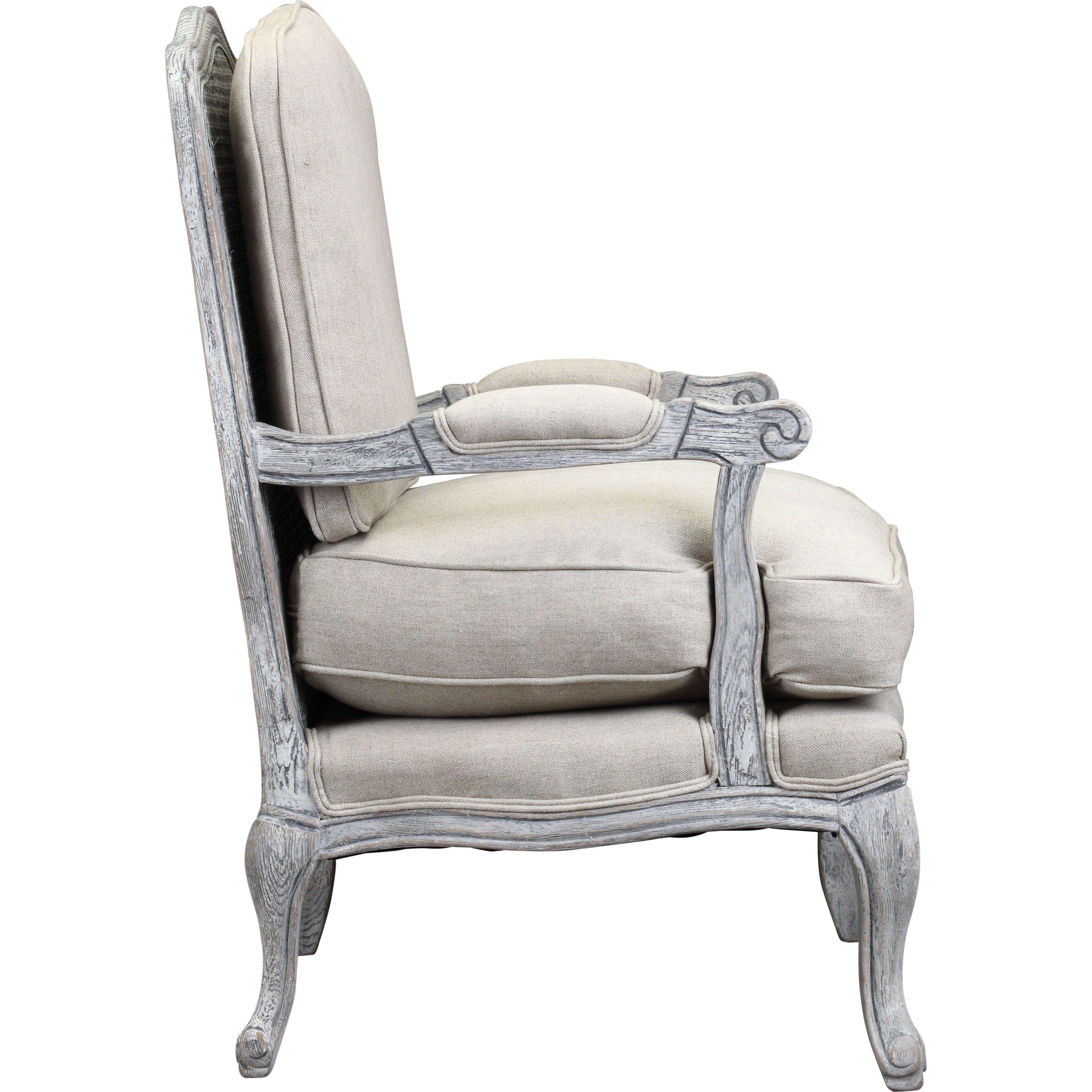 One allium way spencer arm chair in antique white wash