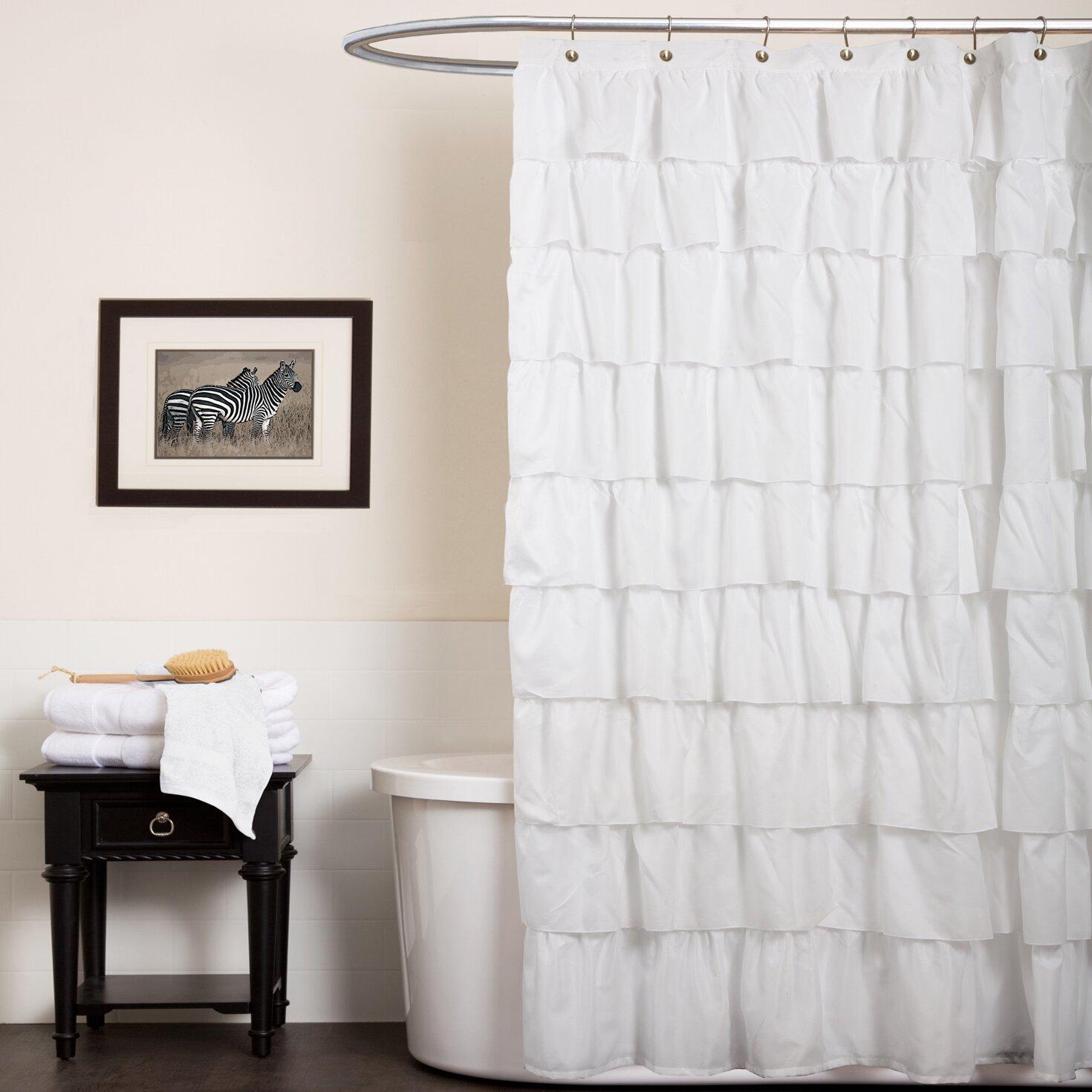 One Allium Way Marouane Ruffle Shower Curtain & Reviews | Wayfair