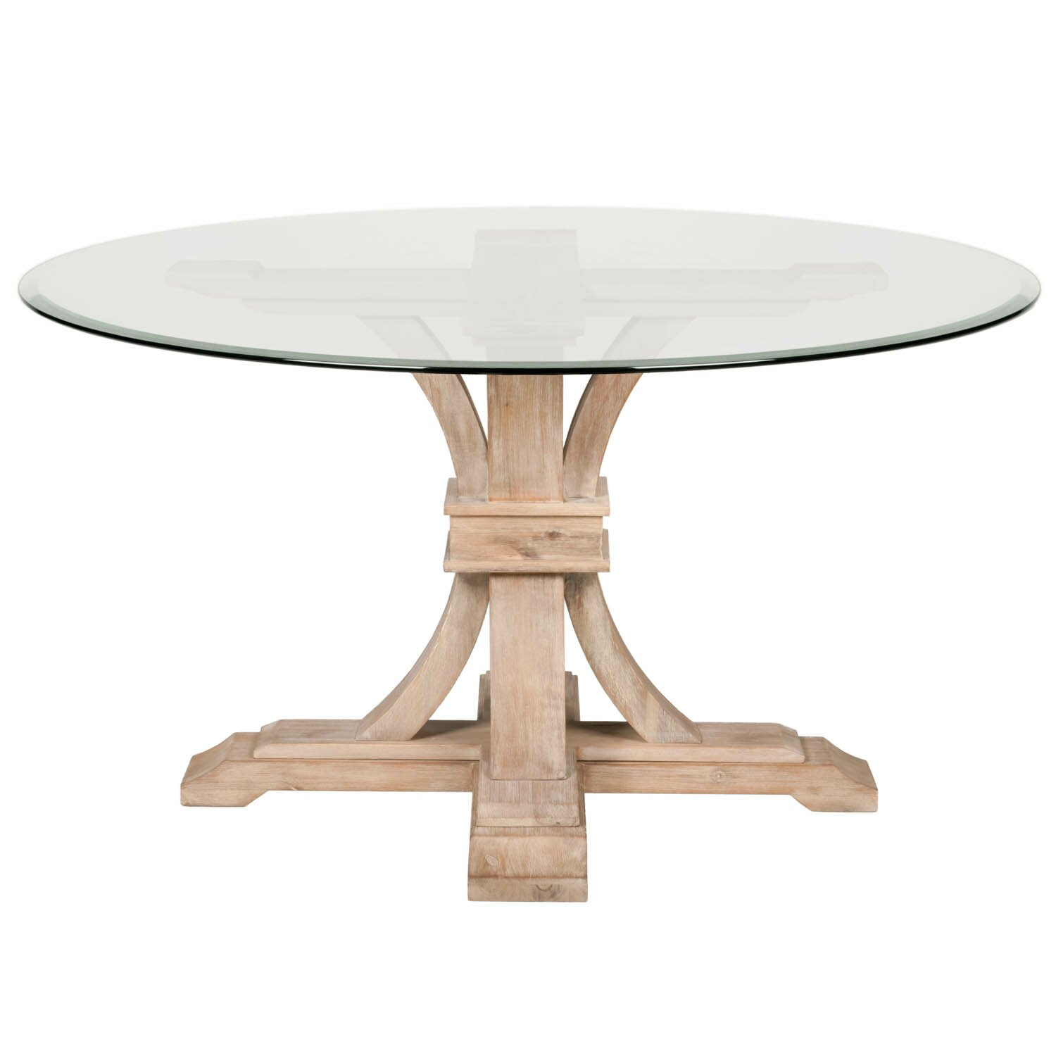 One allium way montcerf 54 round glass dining table reviews wayfair Round glass dining table
