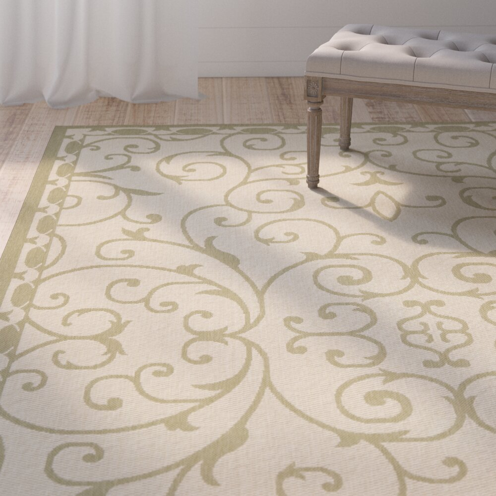 One allium way rhine 6000 cream green area rug wayfair for Green and cream rugs