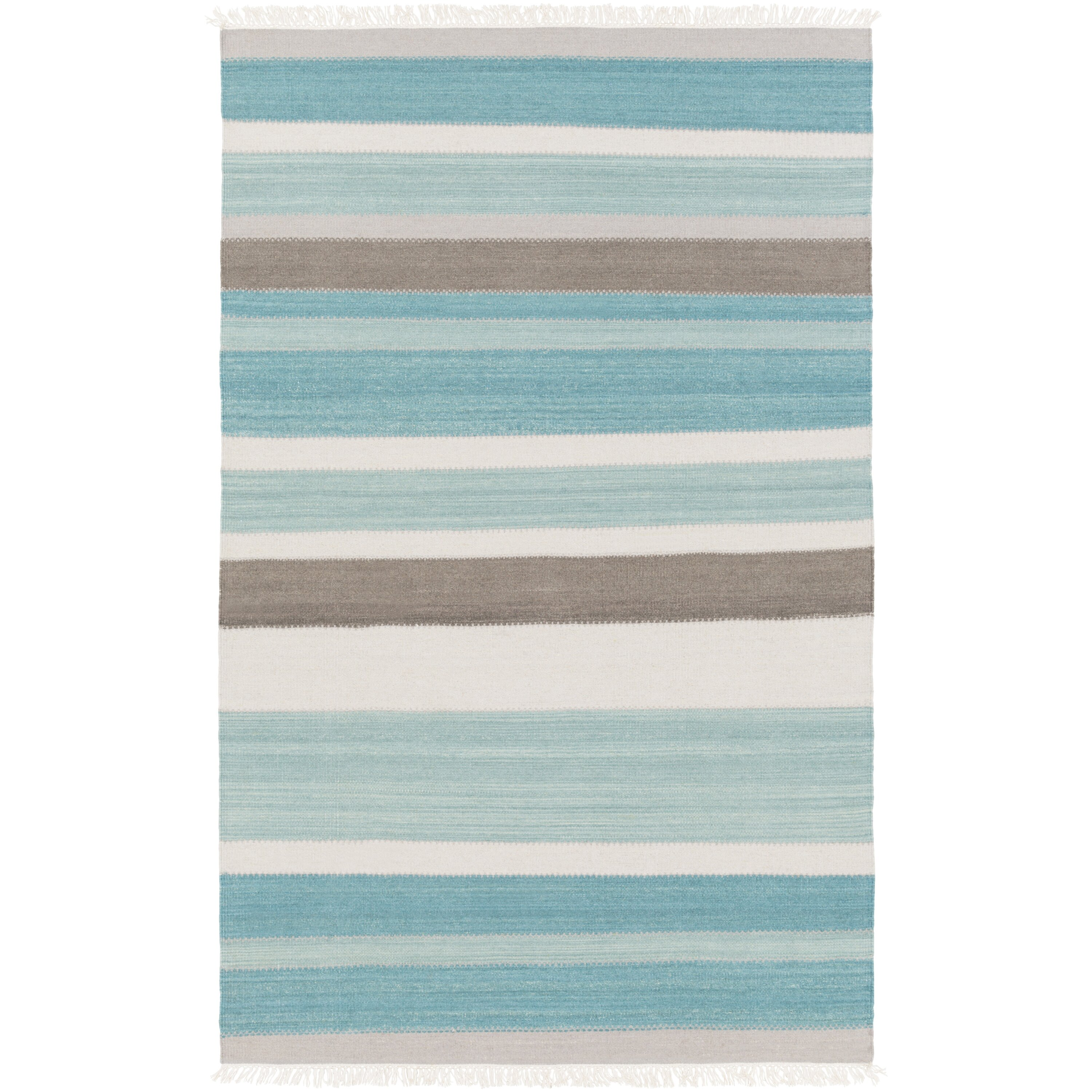 Beachcrest Home Garcon Point Teal Light Gray Area Rug