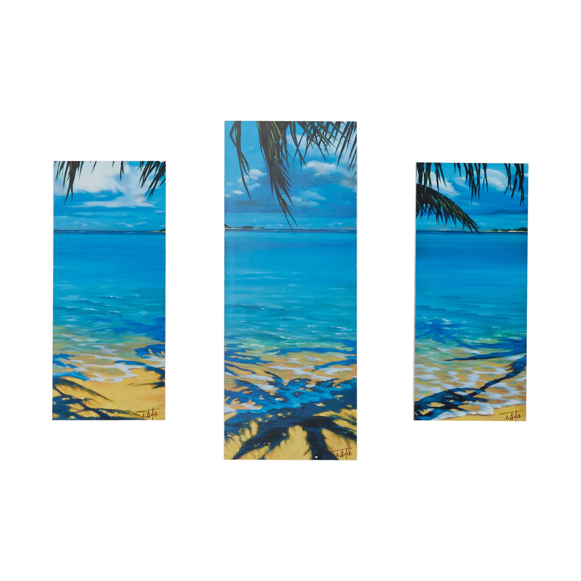Palm tree shadows 3 piece photographic print set by beachcrest home