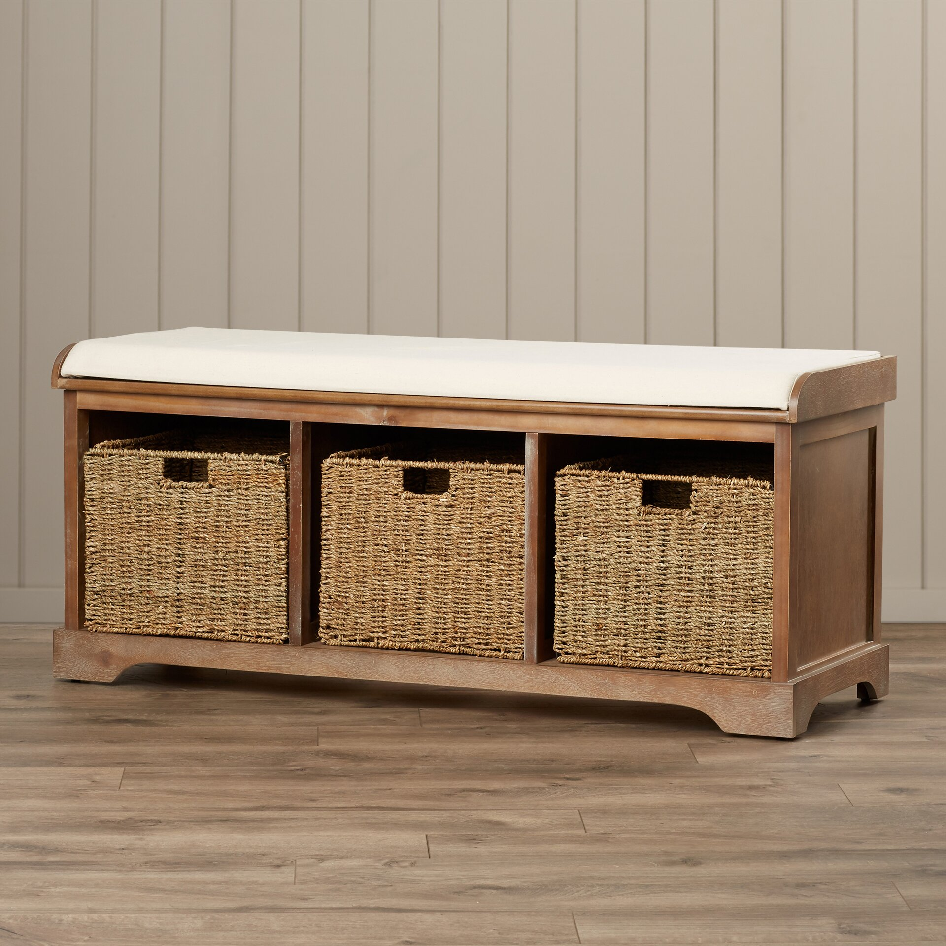 Beachcrest Home Seminole Wood Storage Hallway Bench