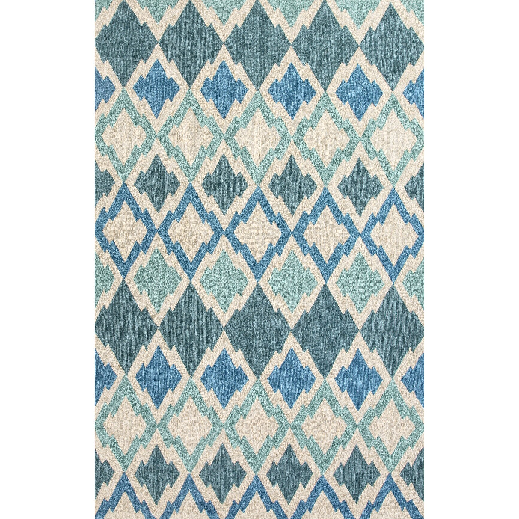 Beachcrest home mclellen hand woven blue ivory indoor for Woven vinyl outdoor rugs