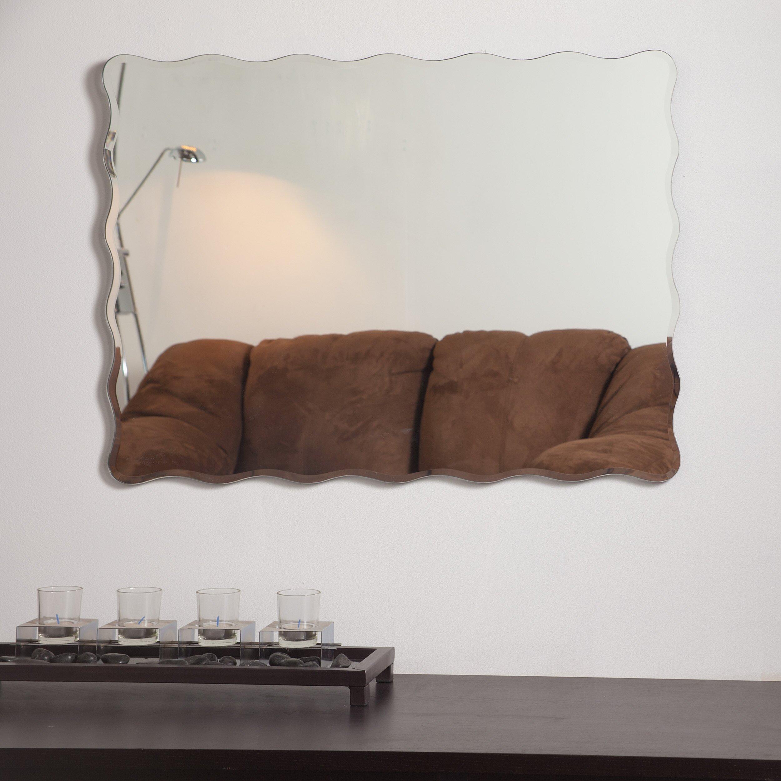 Beachcrest home valparaiso modern wall mirror reviews for Modern wall mirror