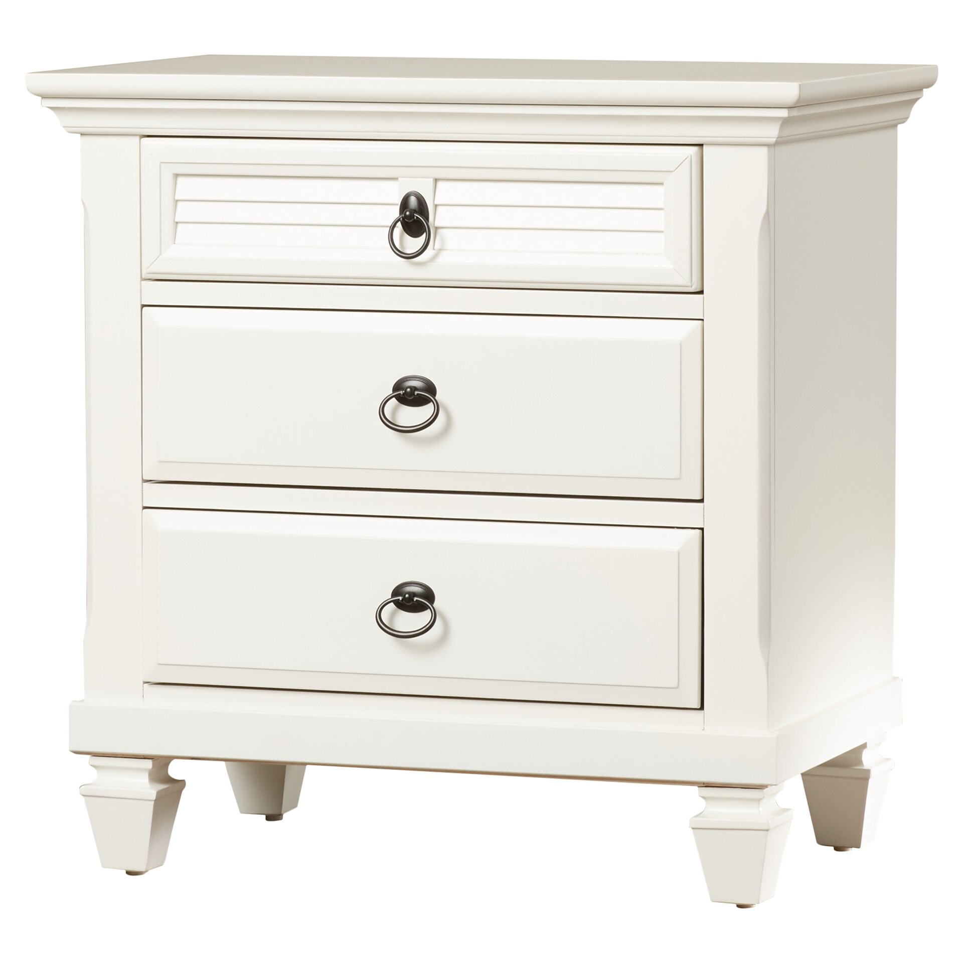 Beachcrest home norfolk 3 drawer nightstand reviews for White wood nightstand