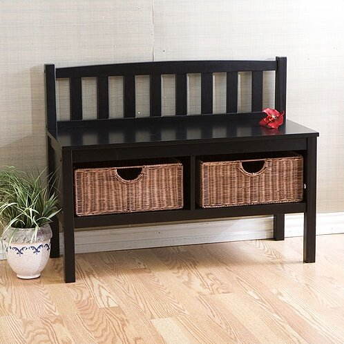 Beachcrest Home Offerman Wood Storage Entryway Bench With Rattan Baskets Reviews Wayfair Supply
