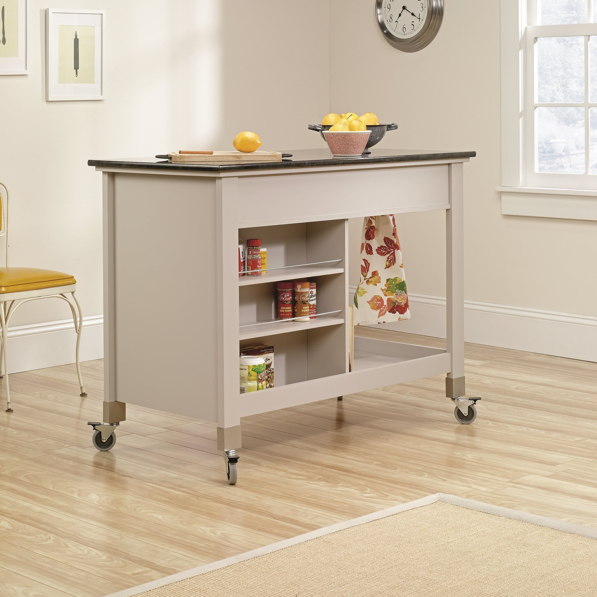 Home Whitehead Kitchen Island with Slate Top & Reviews  Wayfair
