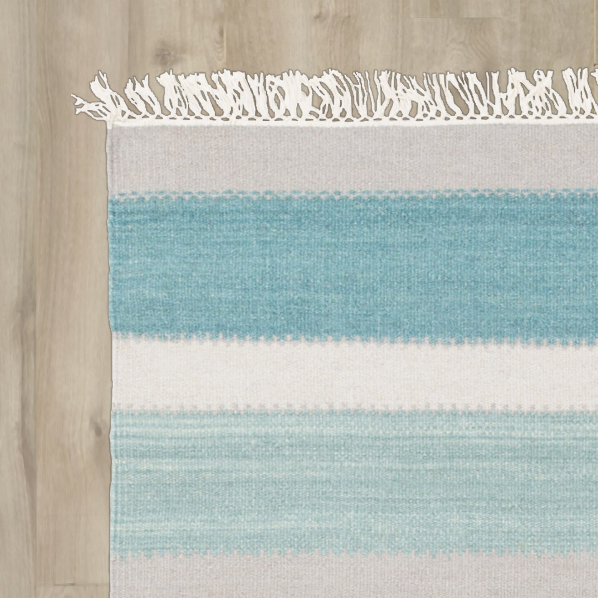 Beachcrest Home Garcon Point Teal/Light Gray Area Rug