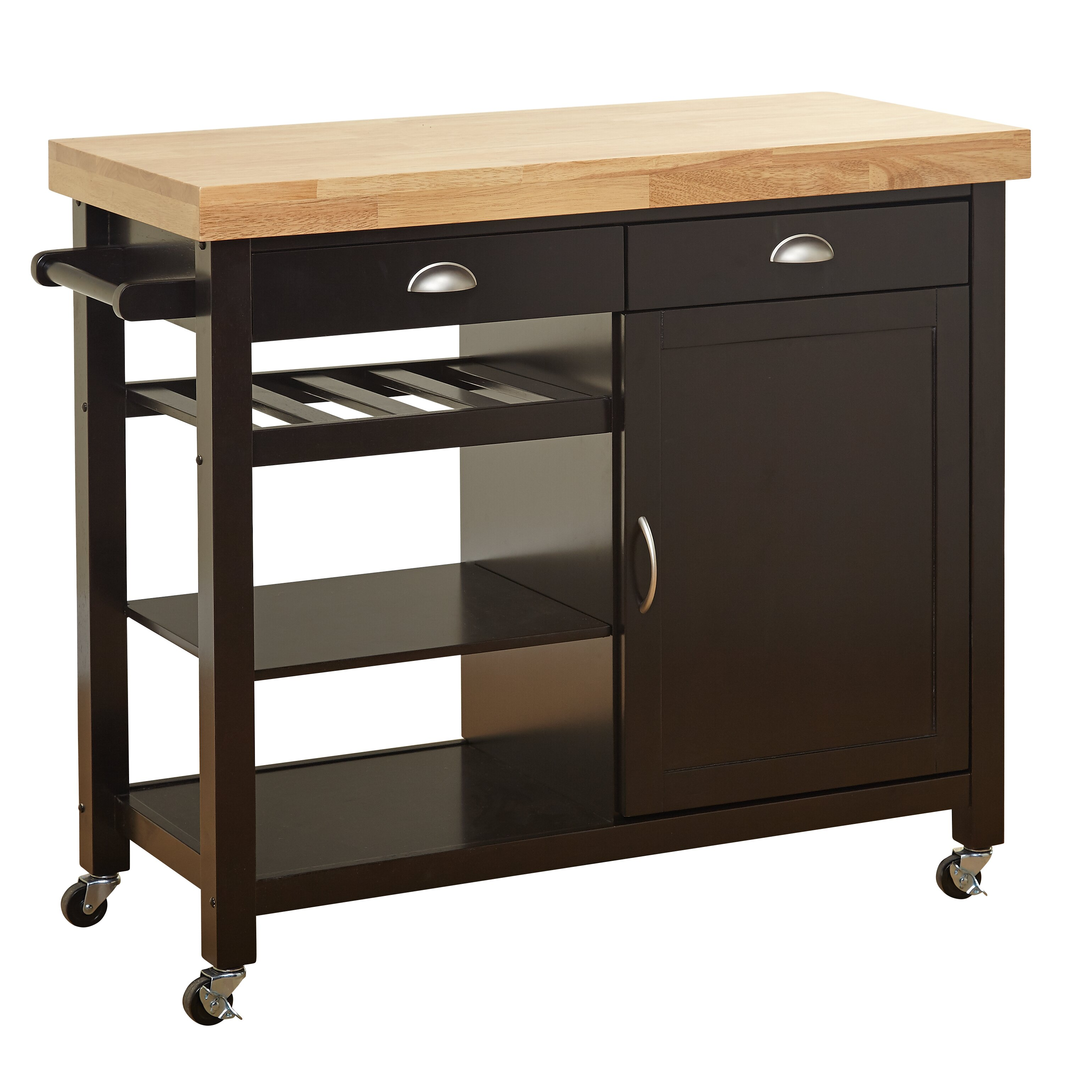 Beachcrest Home Hopewell Kitchen Cart With Wood Top