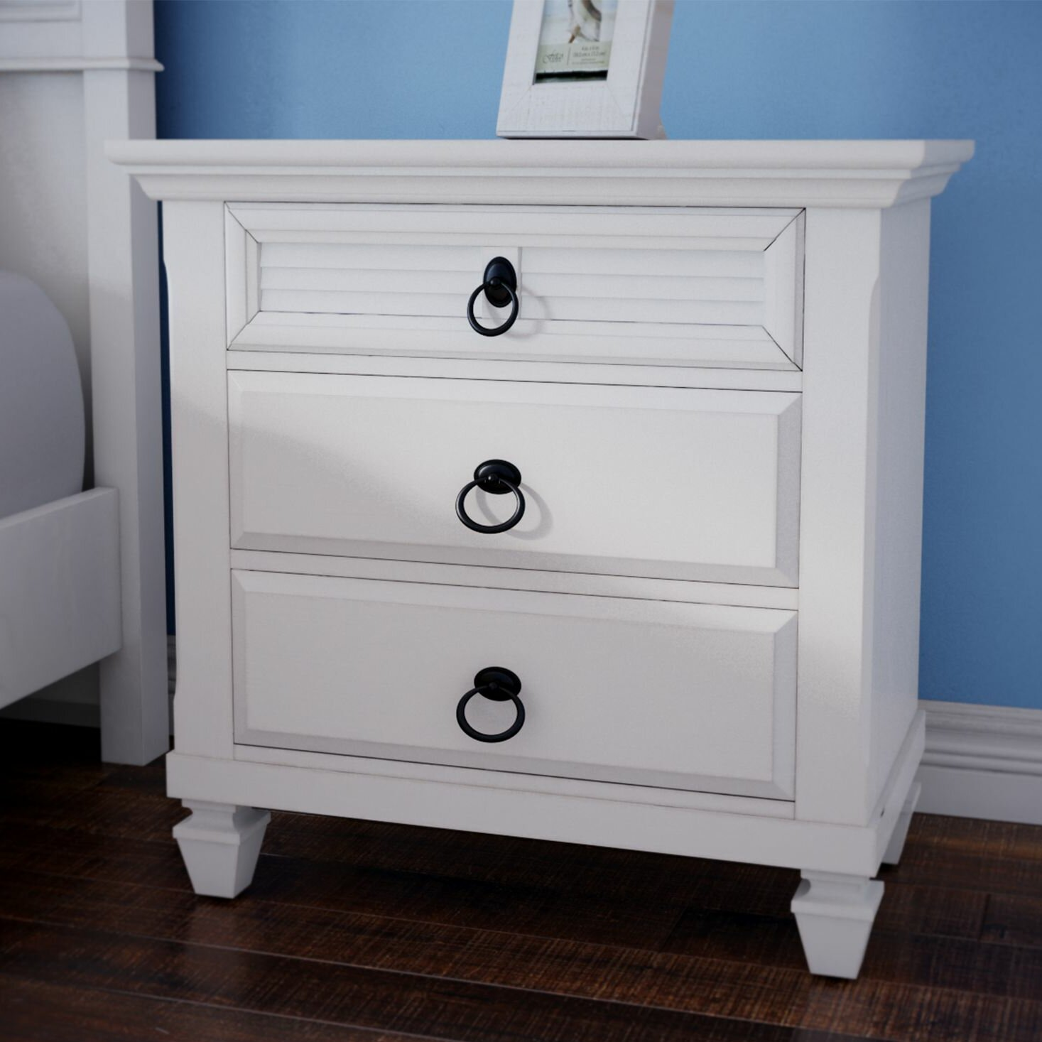 Small Hickory White Table With 3 Drawers ~ Beachcrest home norfolk drawer nightstand reviews