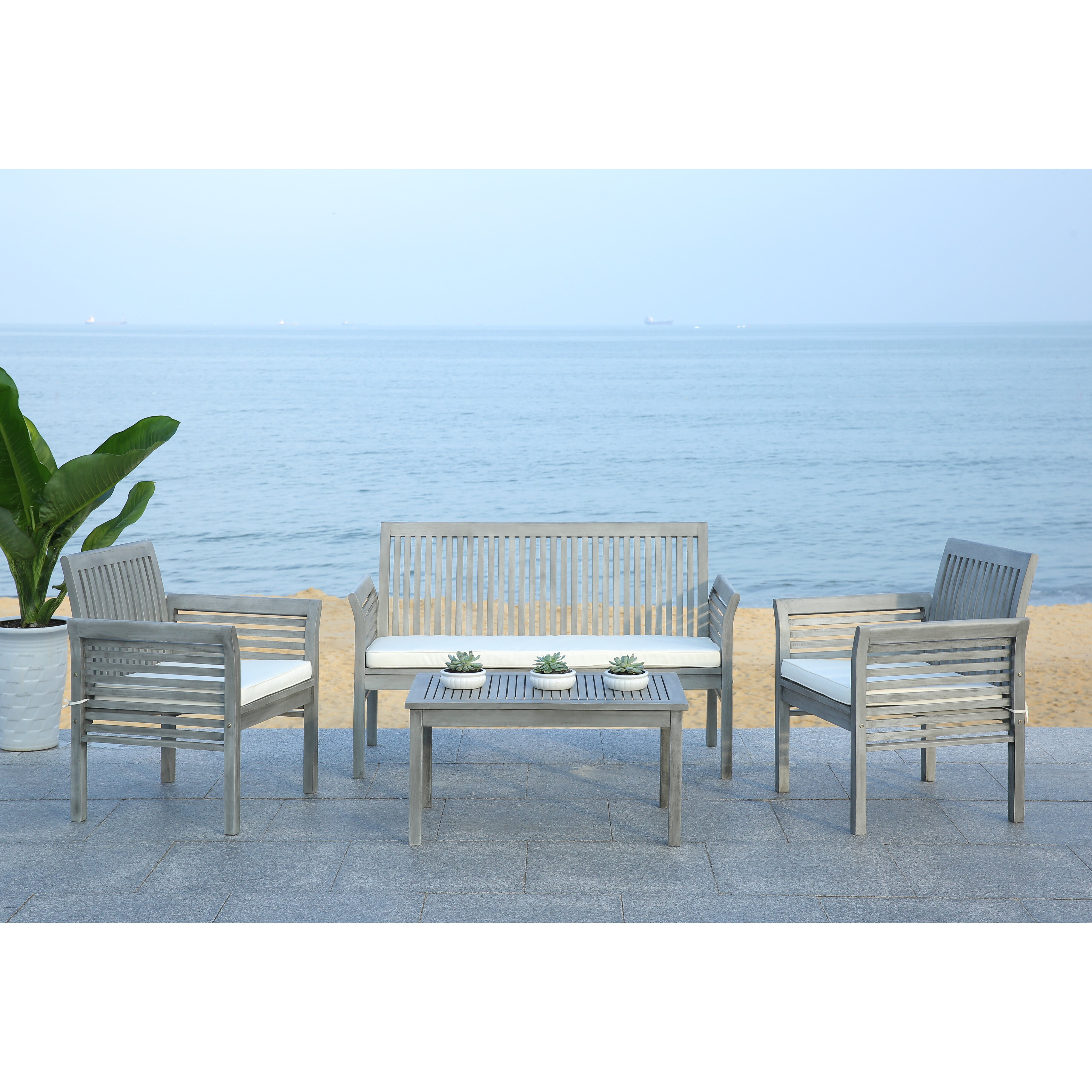 Beachcrest home tice 4 piece seating group with cushion for Outdoor furniture 4 piece